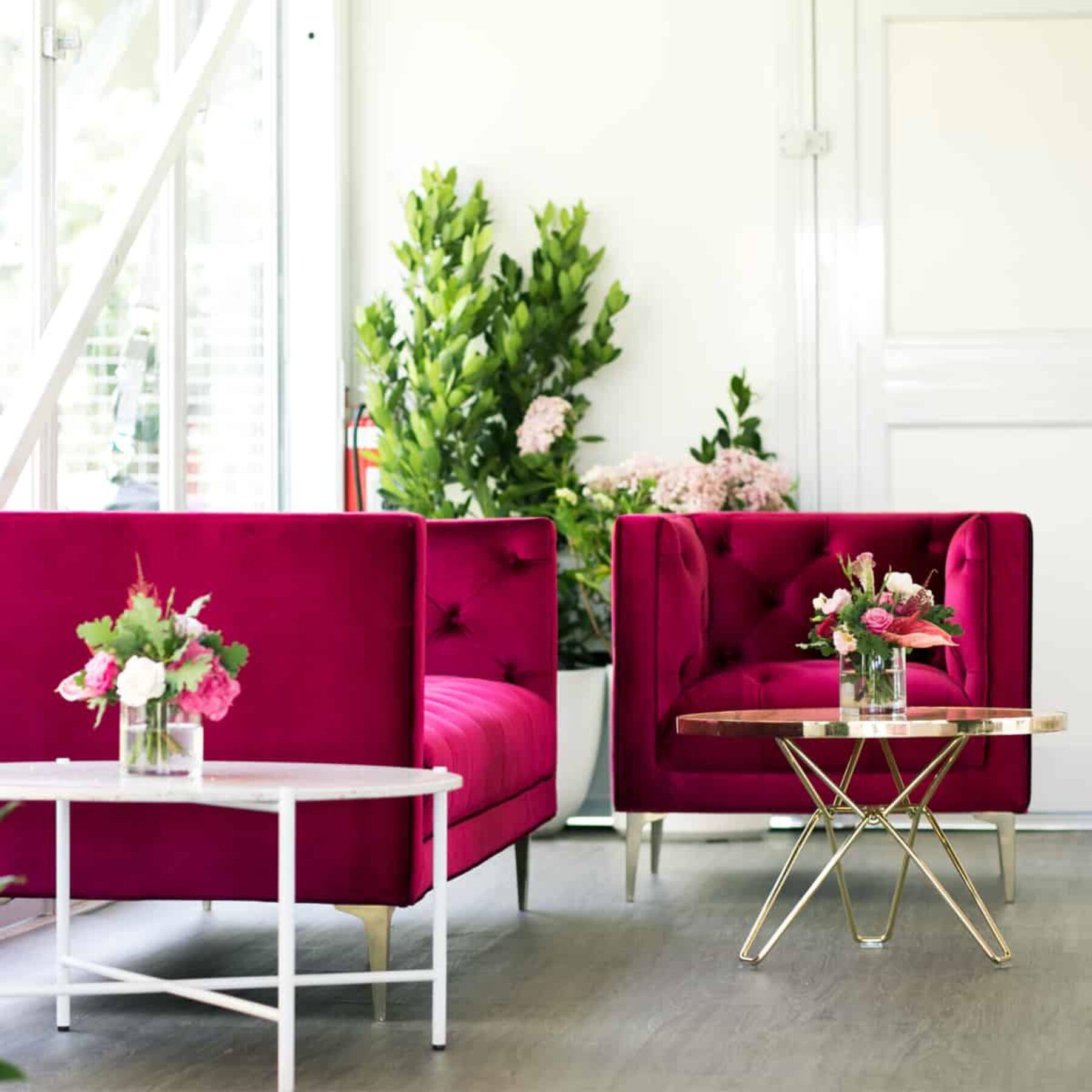 velvet magenta chairs - Dann Event Hire Melbourne