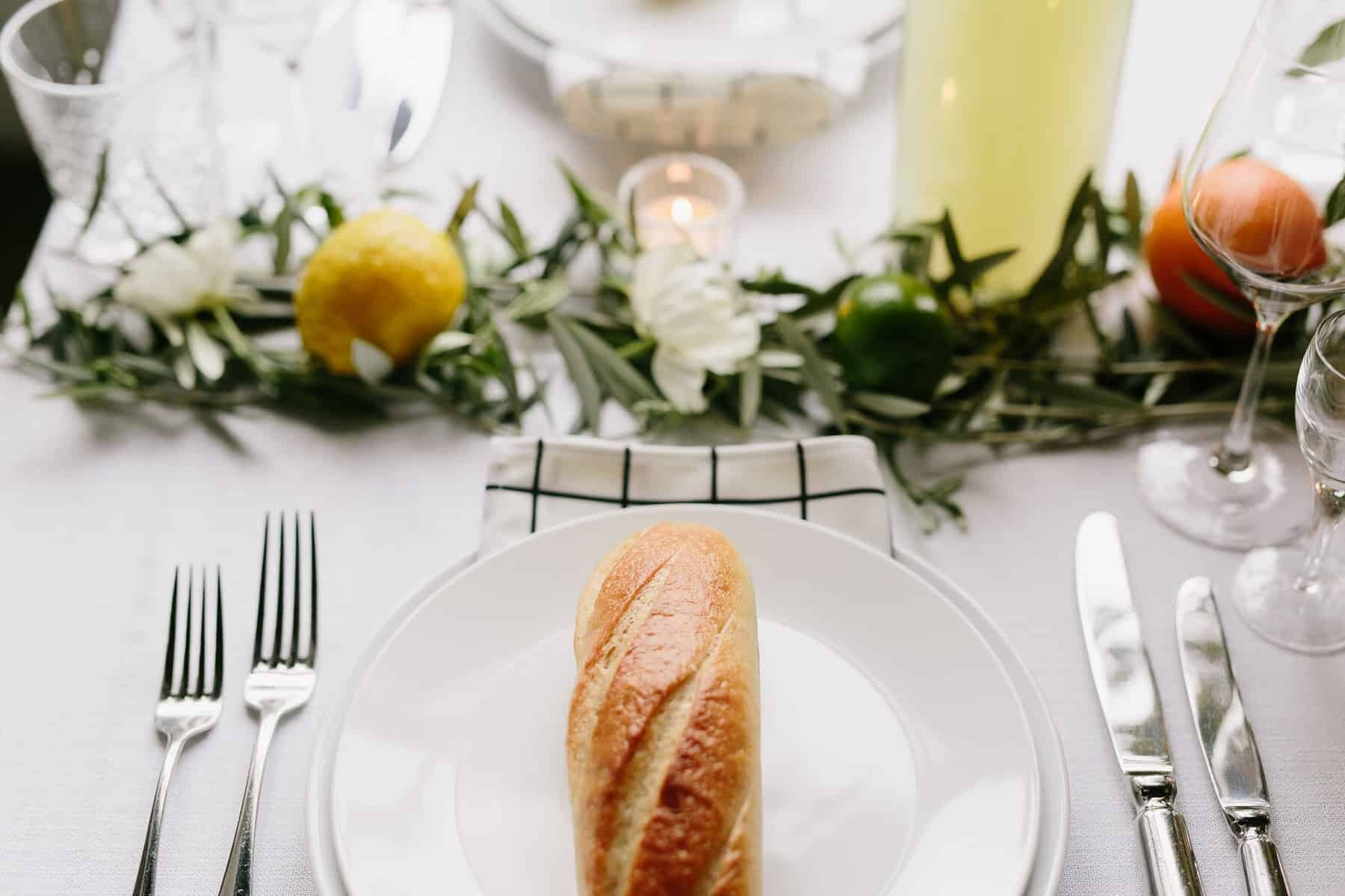 modern wedding tablescape with citrus