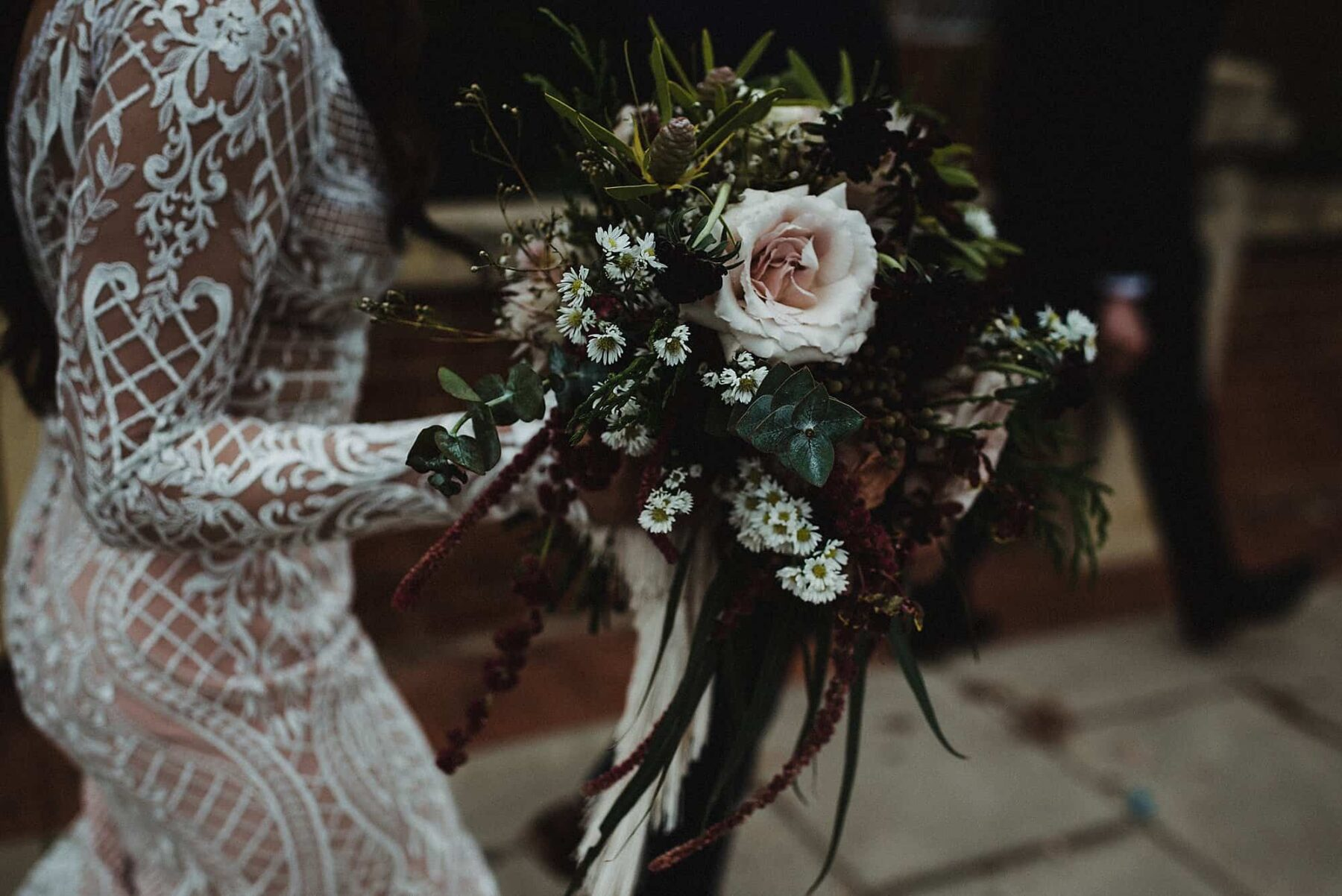blush and burgundy bouquet with roses and trailing amaranth