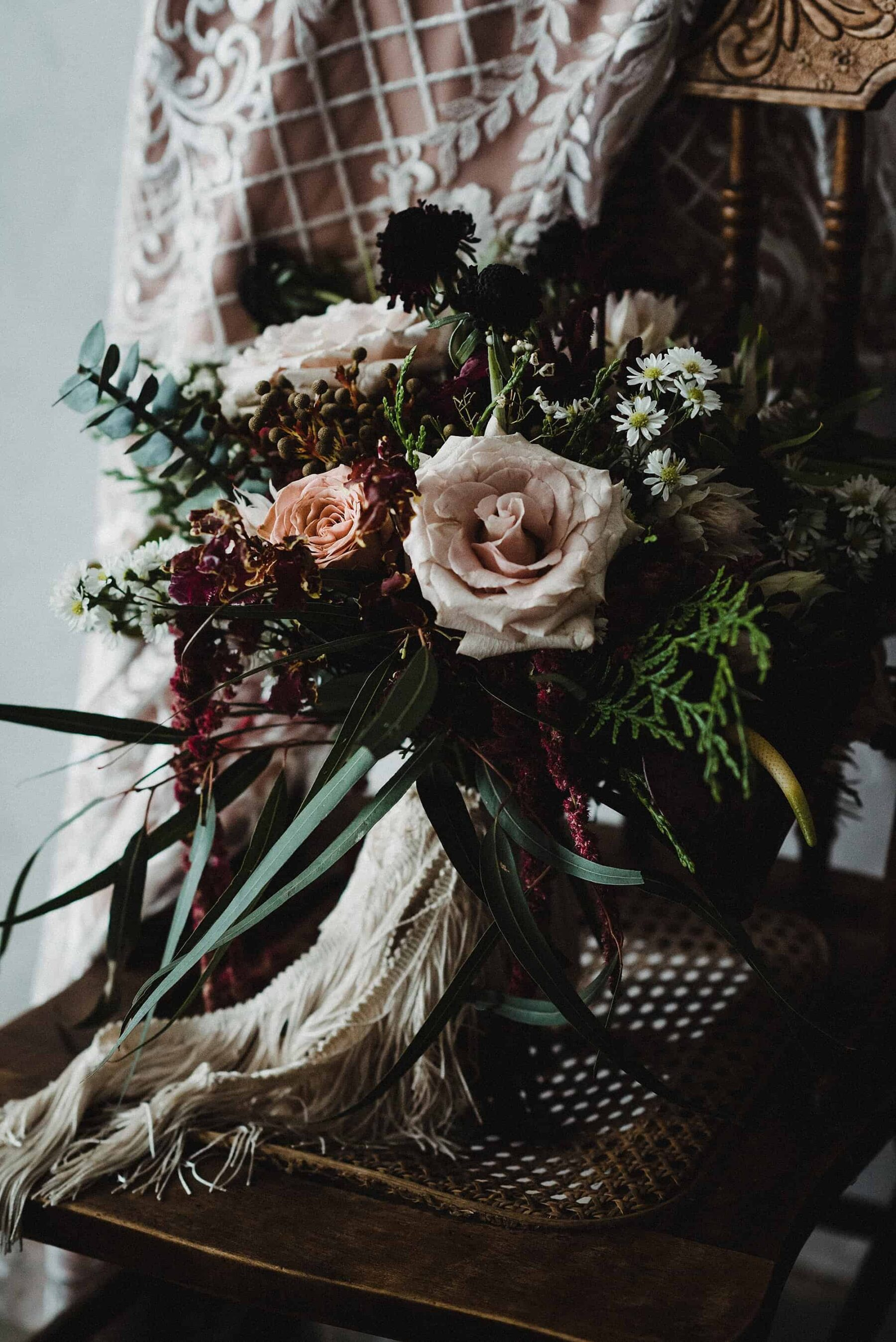 blush and burgundy bouquet with roses and amaranth