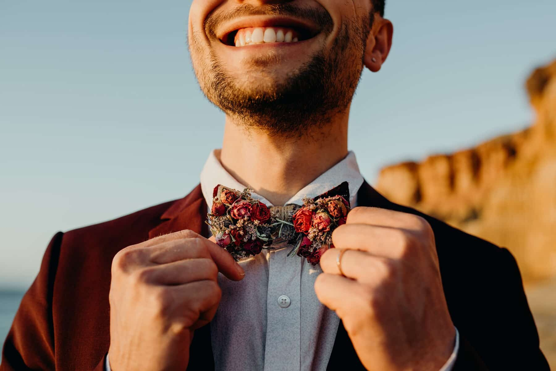 bow tie made from dried flowers