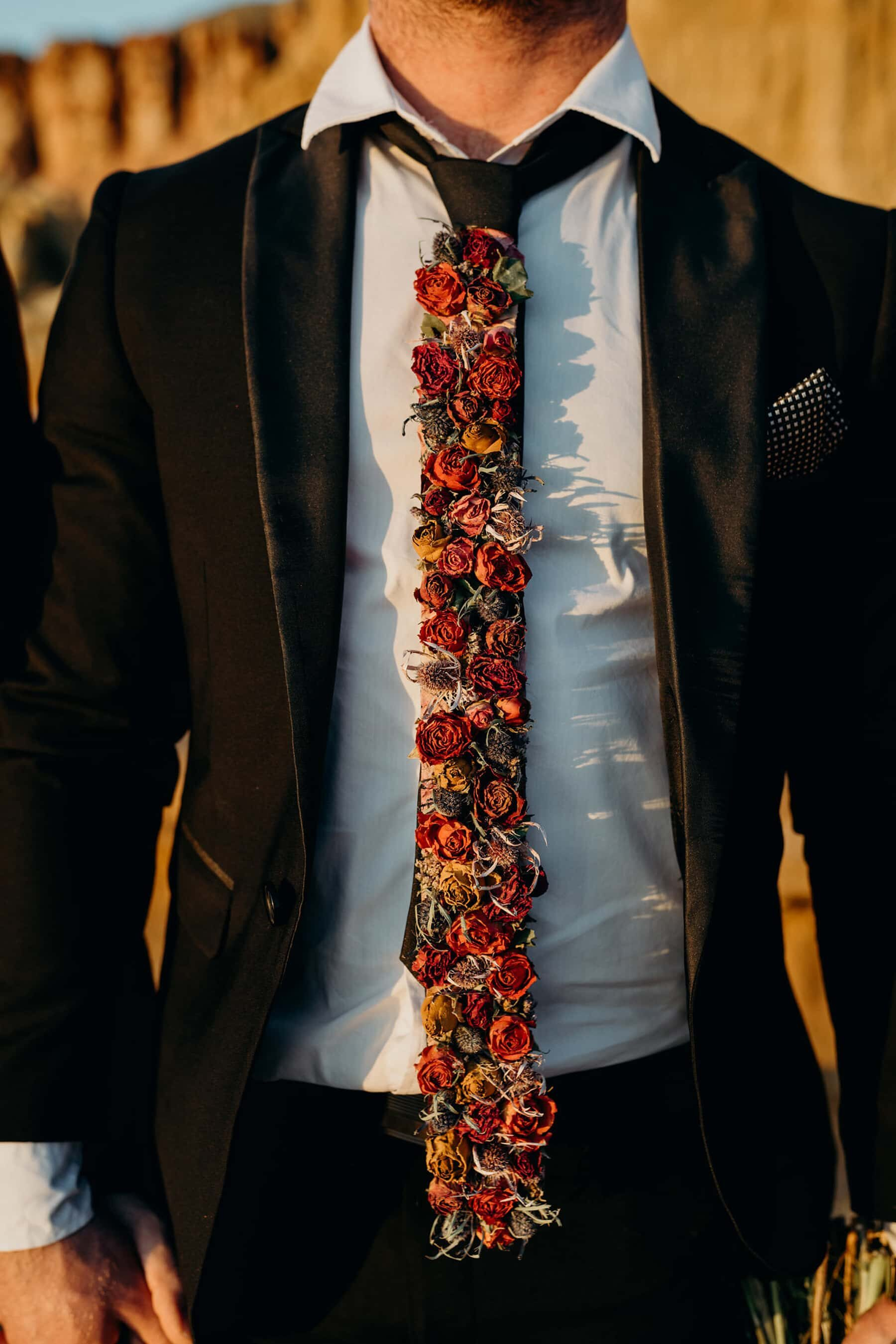 tie made from dried flowers