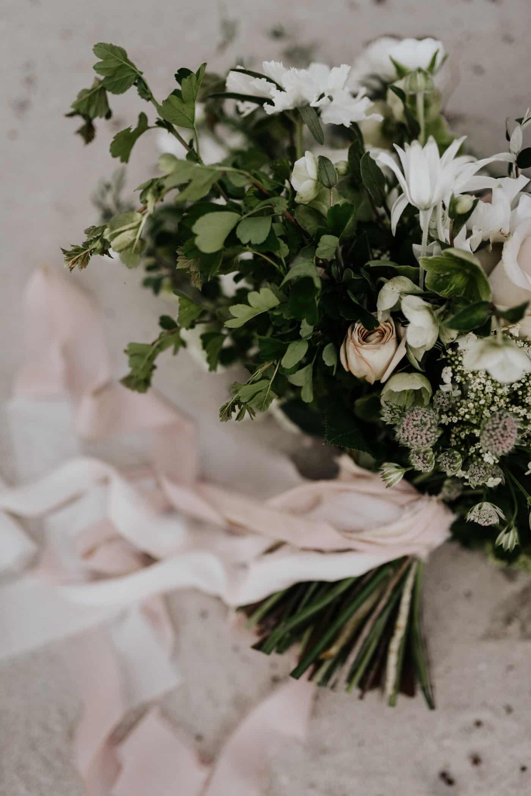 blush bouquet with silk ribbons