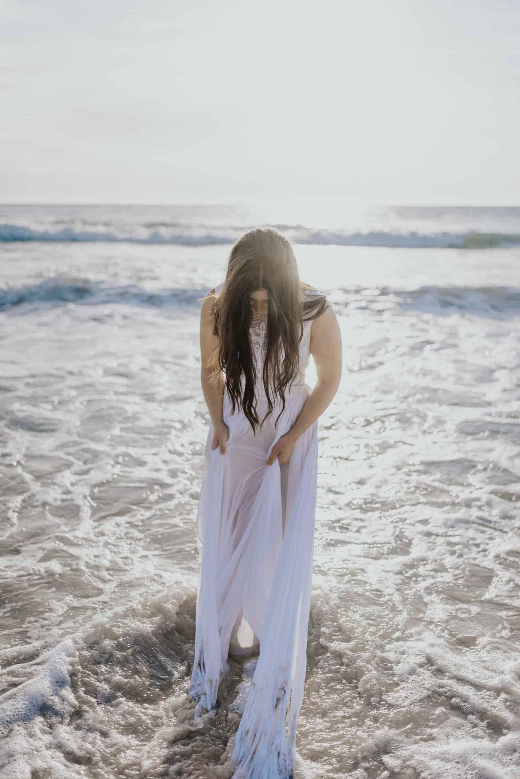 boho beach bride with handmade lace wedding dress