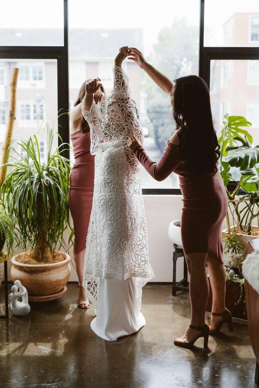 lace overlay wedding dress by Rue de Seine