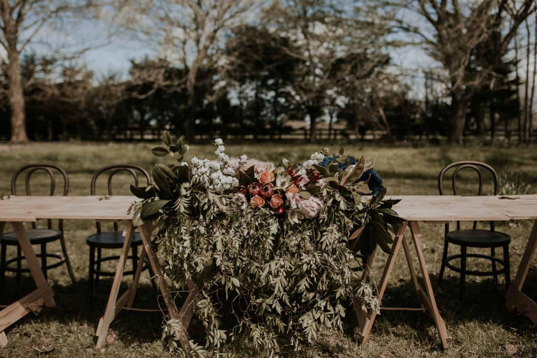 bridal table florals
