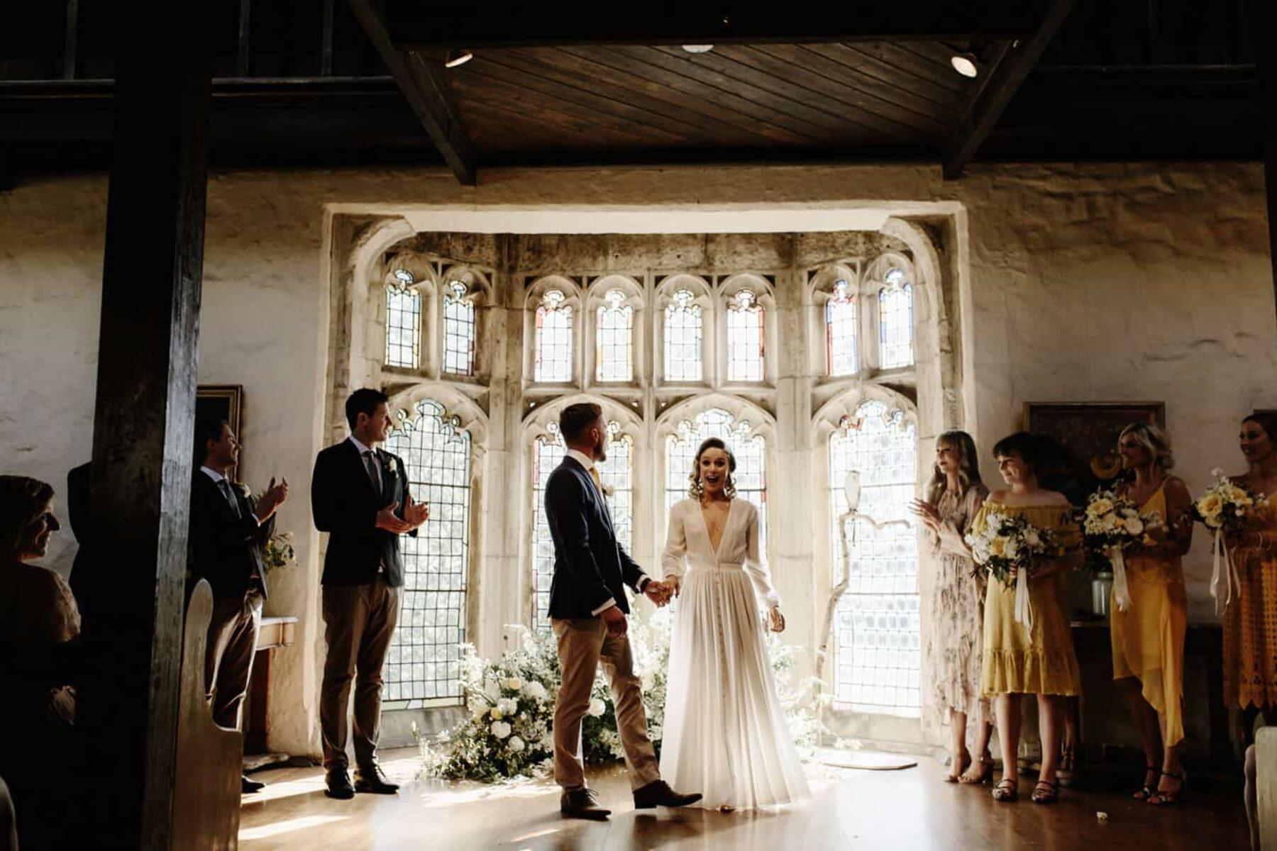 robe-style long sleeve wedding dress by Houghton NYC