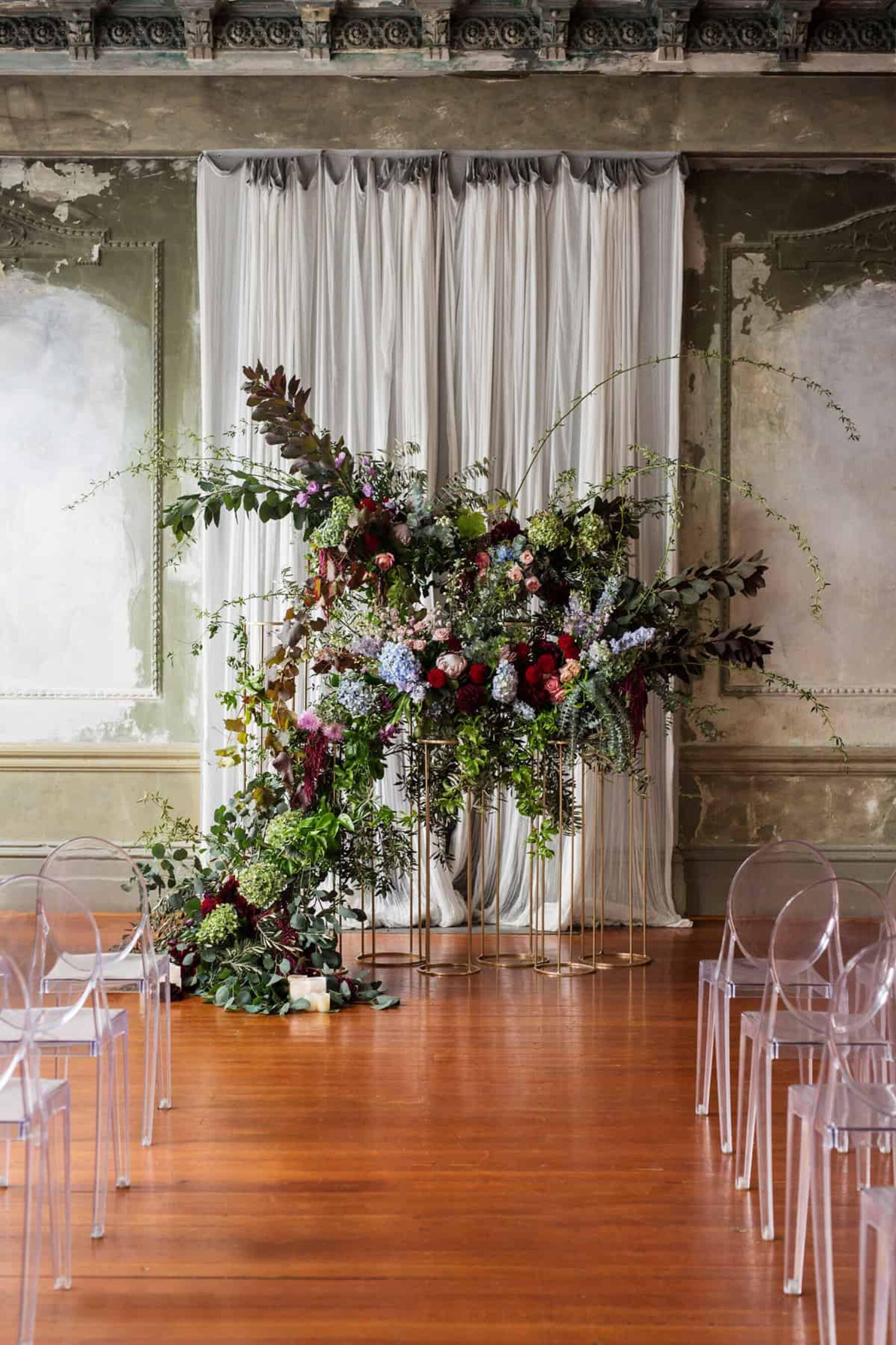 wild floral wedding backdrop
