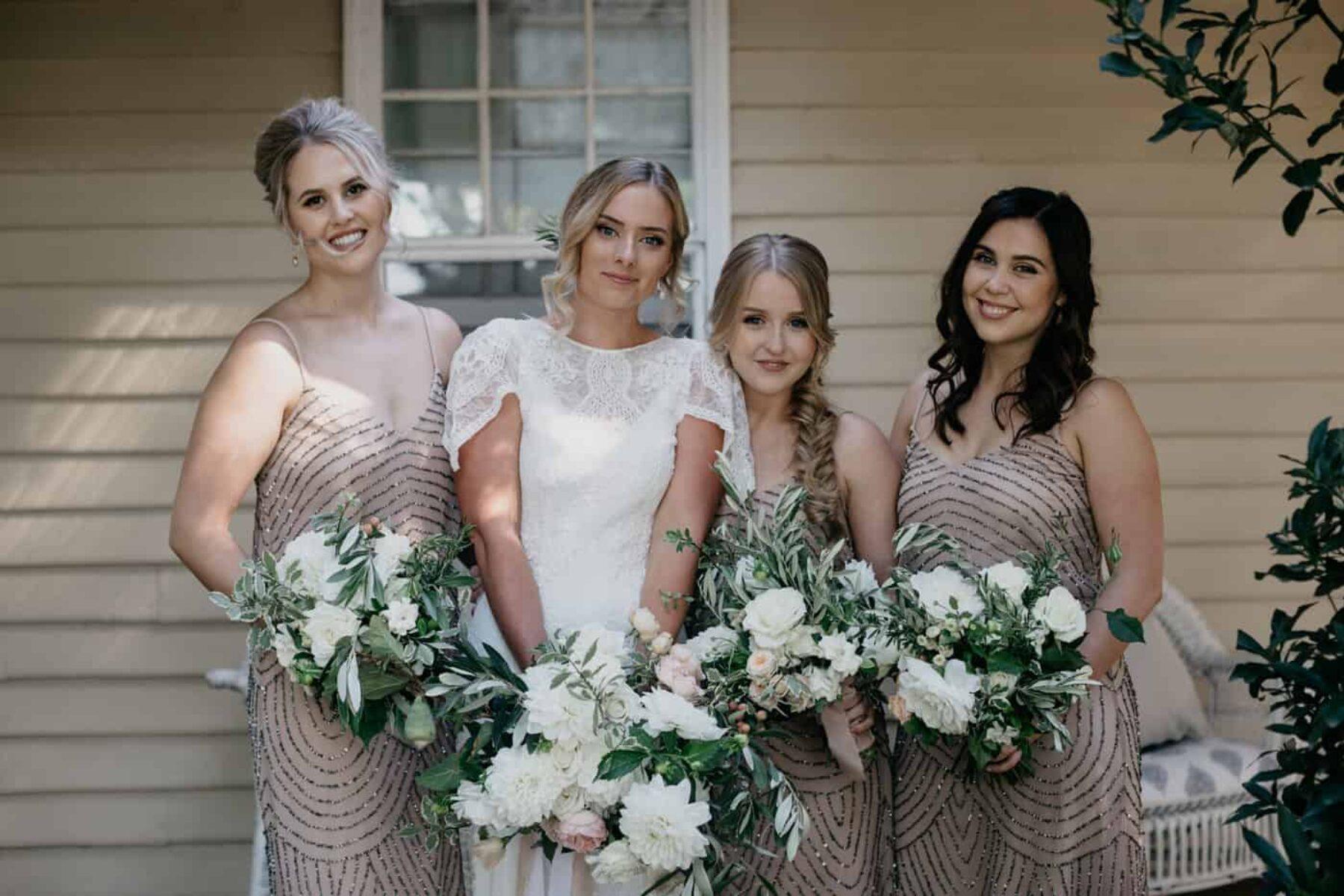 blush sequinned bridesmaid dresses