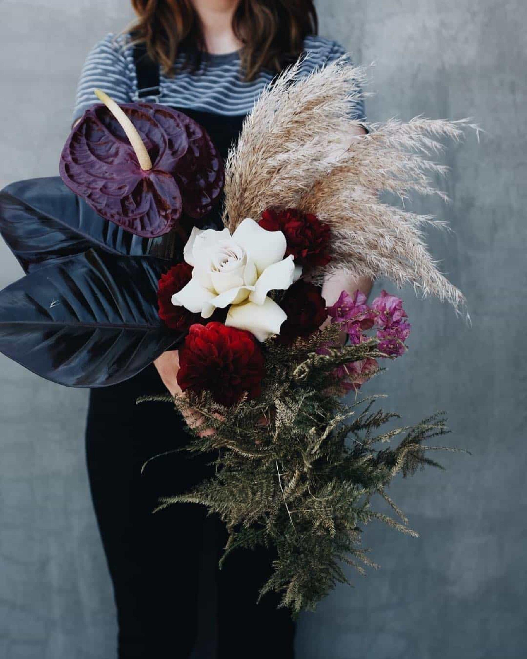 deep plum bouquet with wild grass