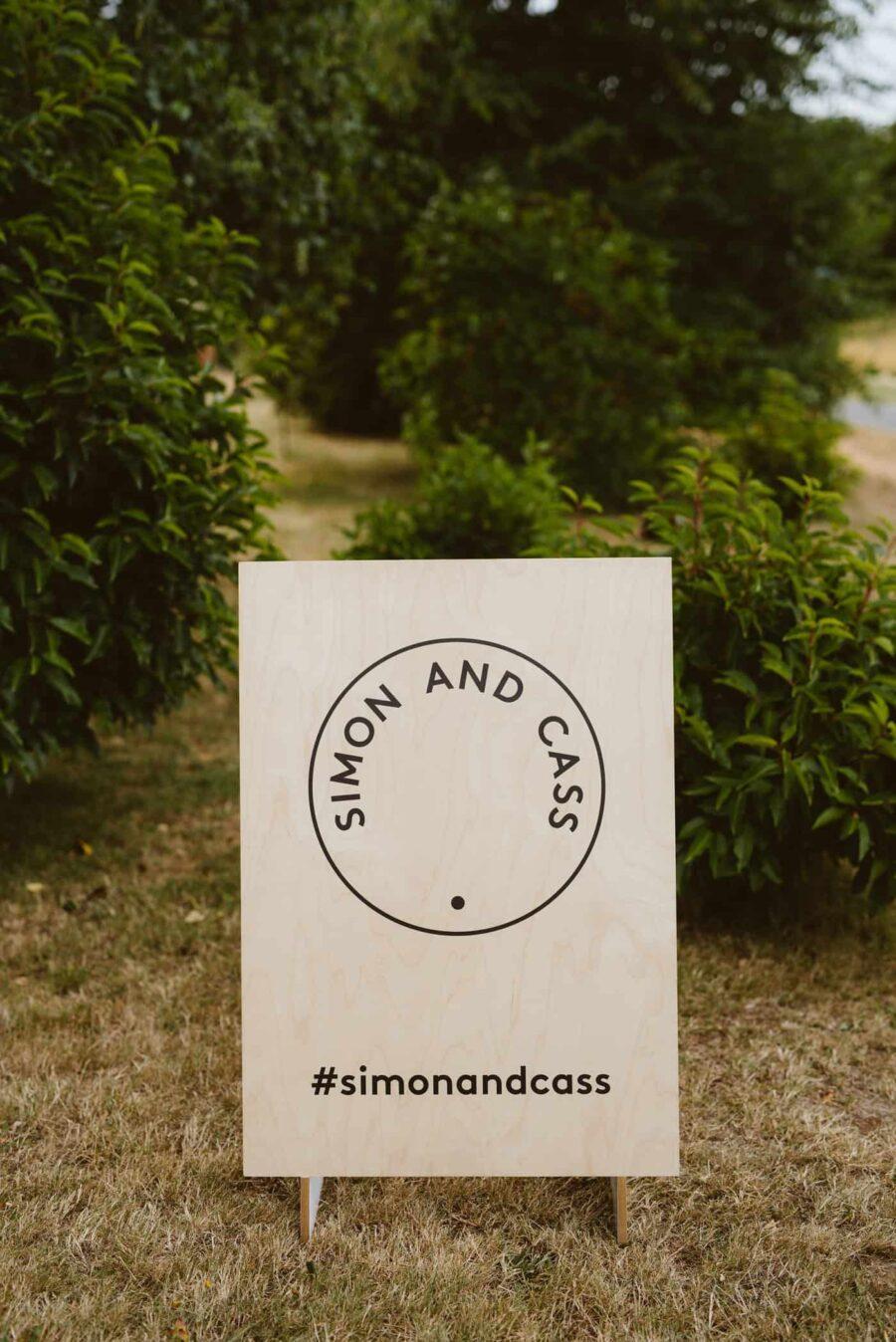 graphic timber wedding signage