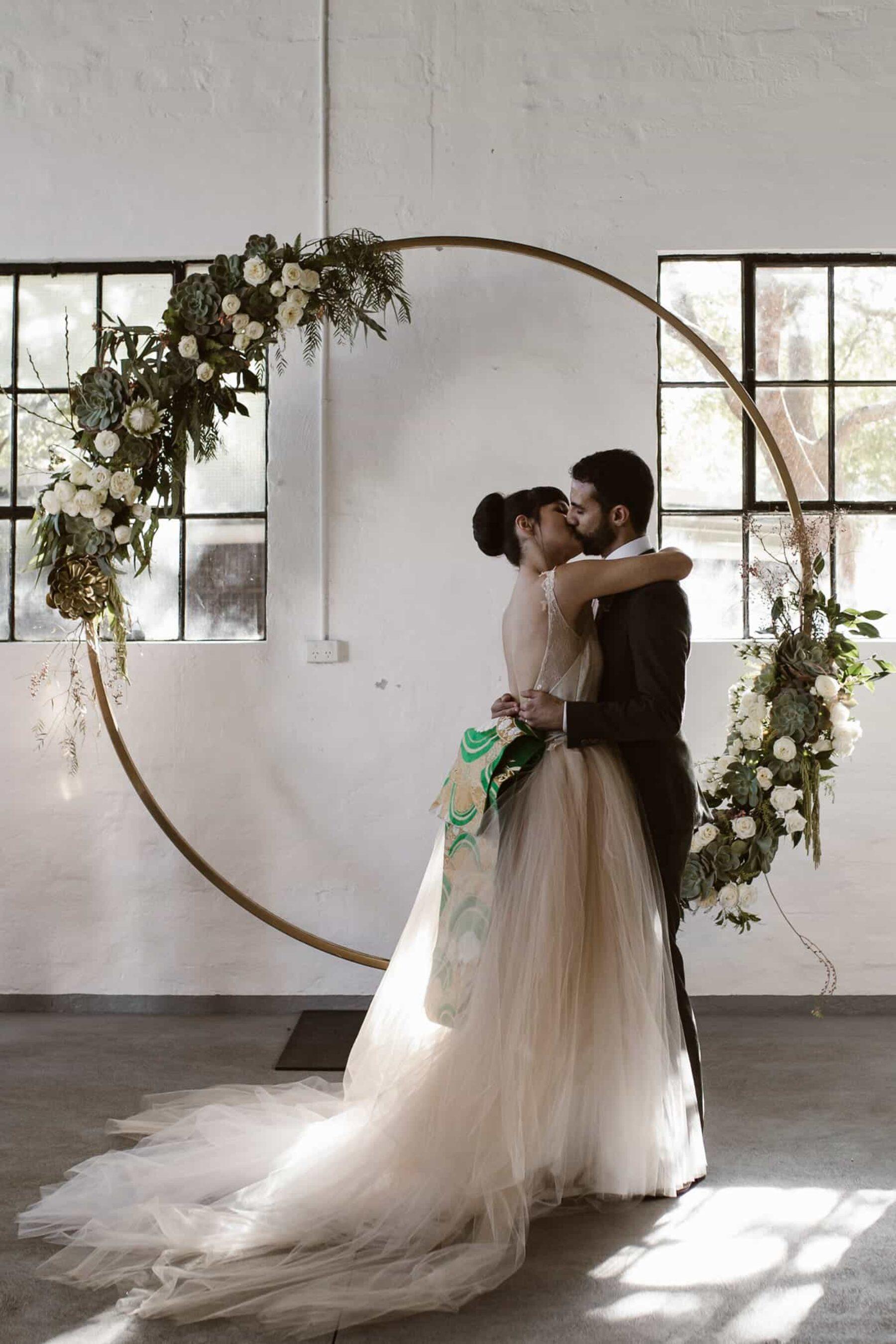 circular floral wedding arbour
