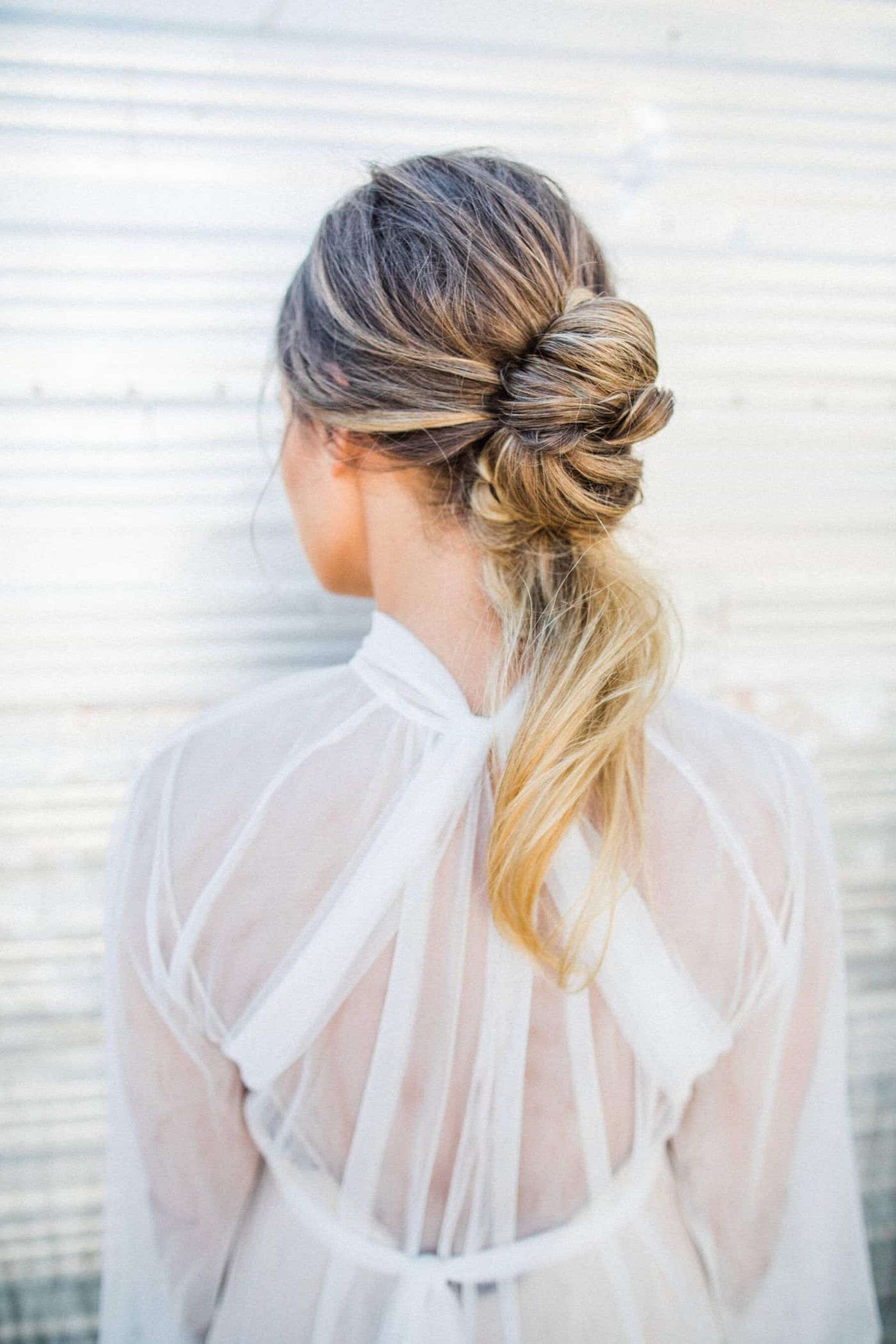 bridal hair in a loose knot