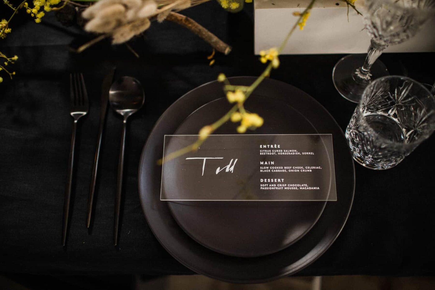 plack place setting with clear acrylic escort card