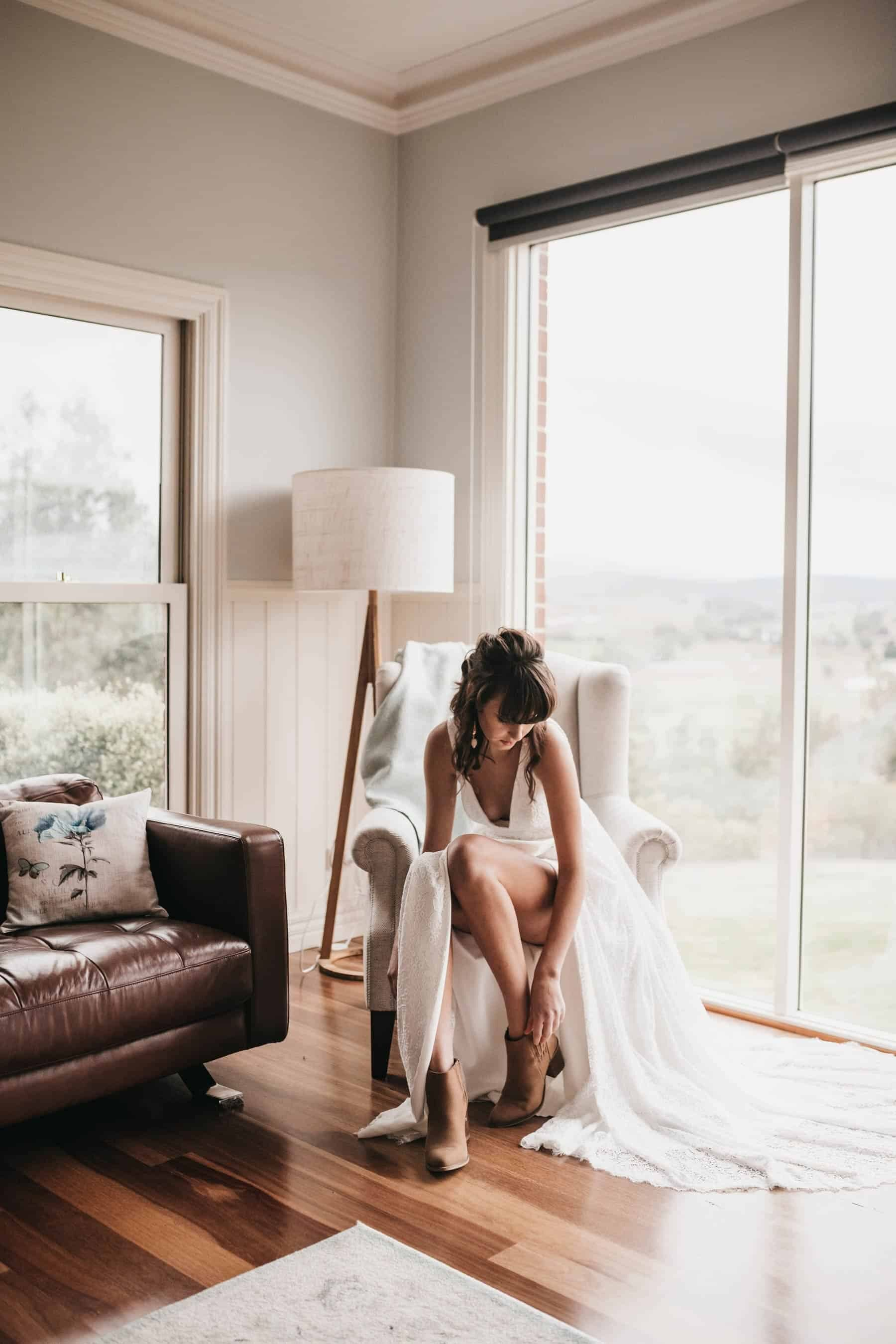 boho bride with boots