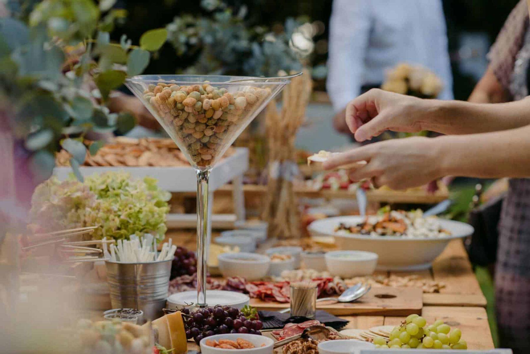 backyard wedding grazing table