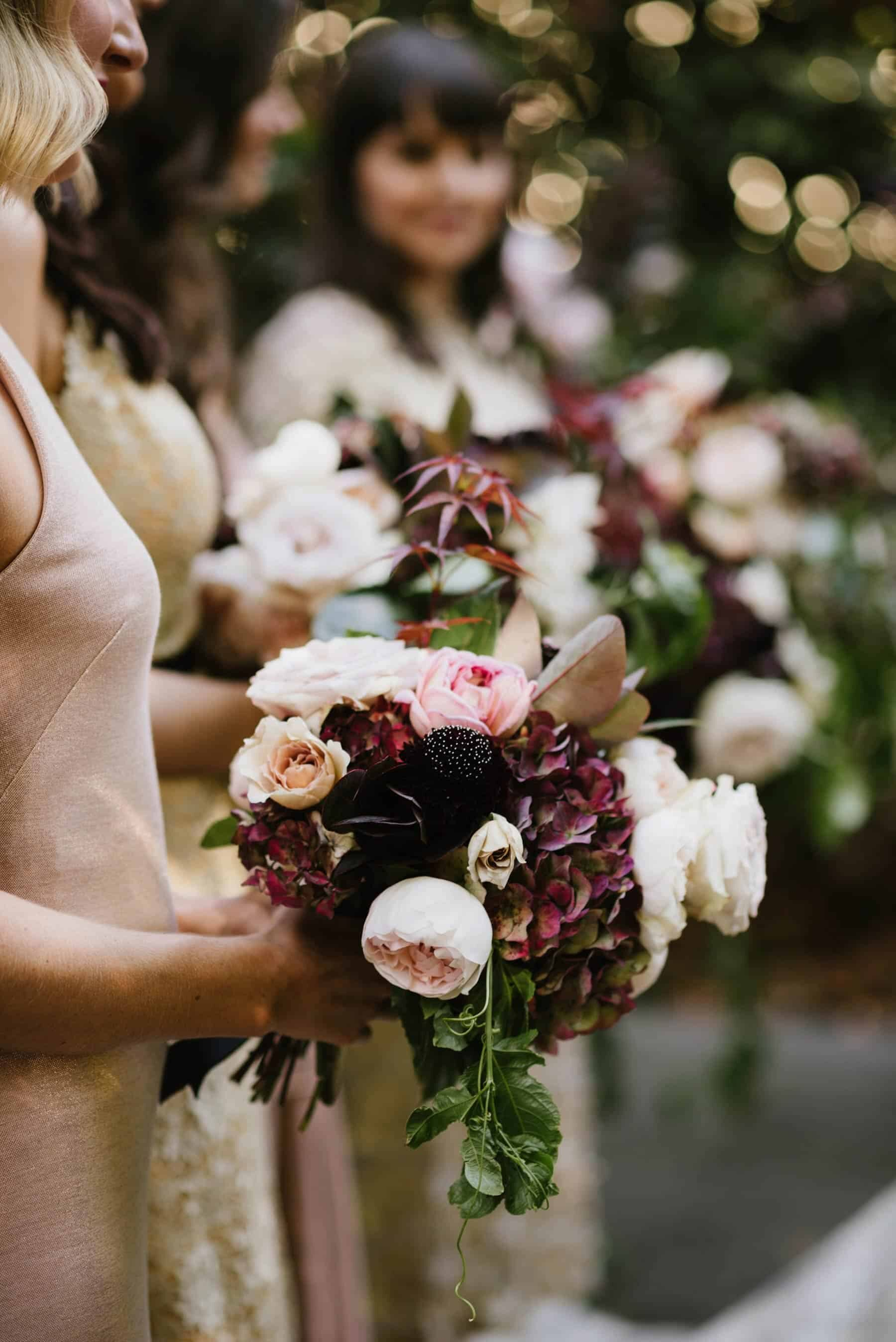 blush and burgundy bridesmaid bouquets