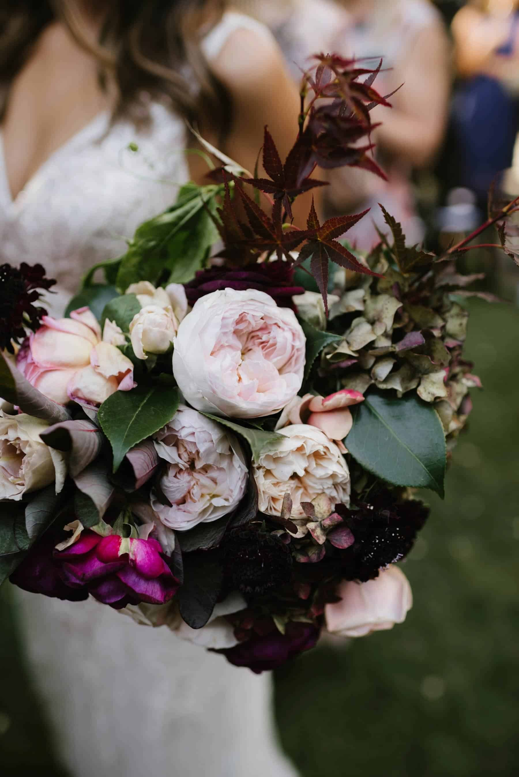 blush and burgundy bridal bouquets