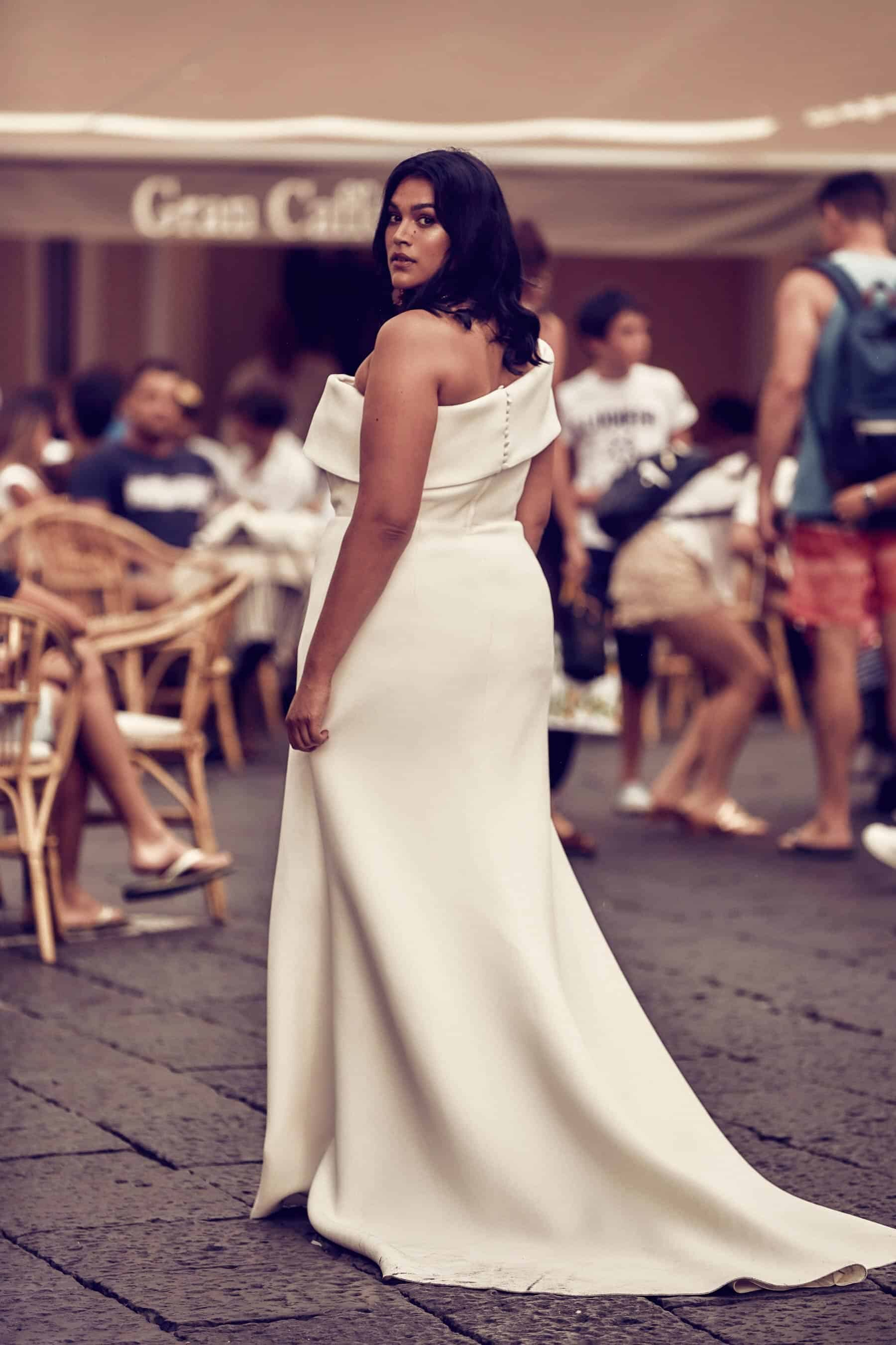 cold-shoulder curve wedding dress by One Day Bridal