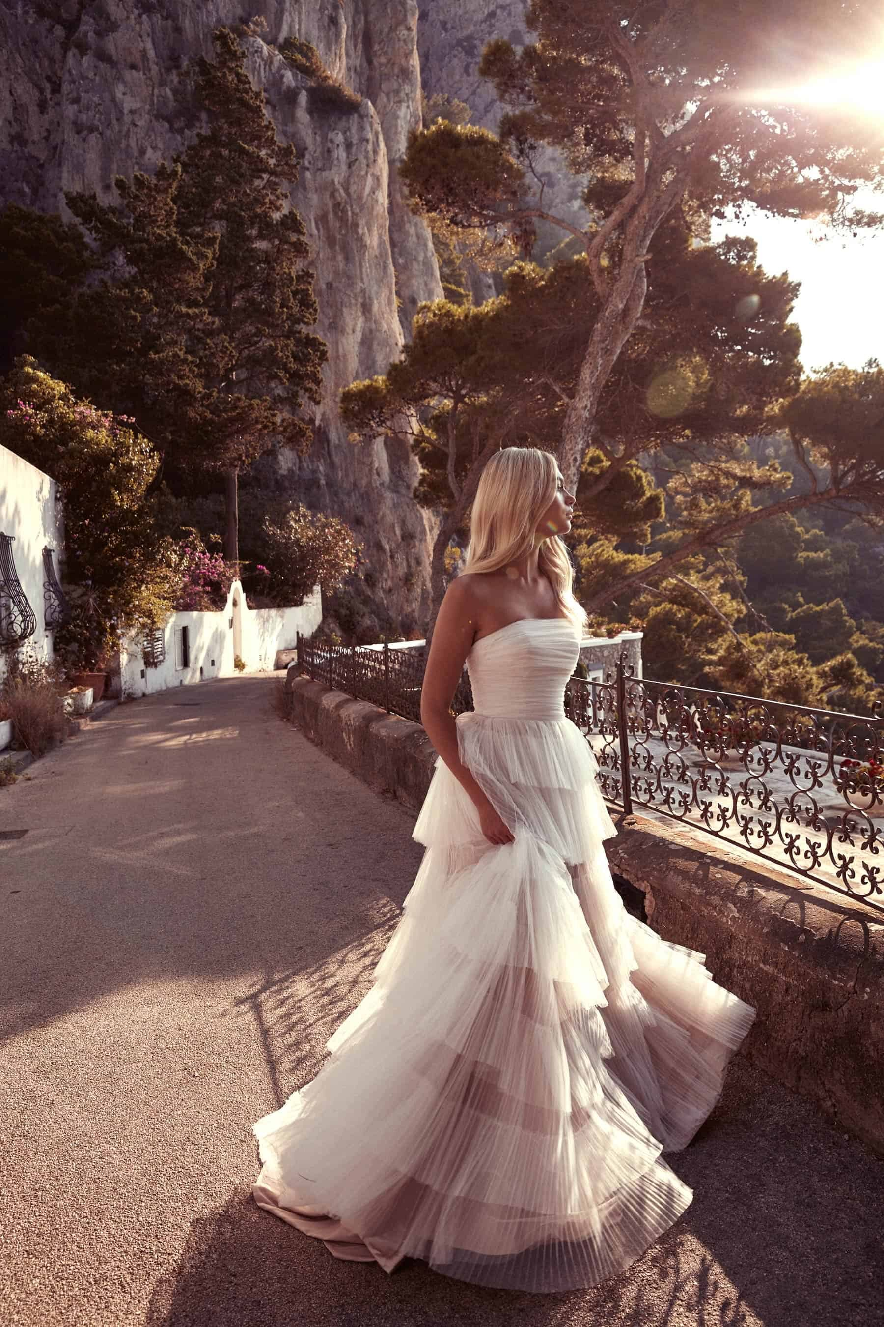 strapless wedding dress with tiered skirt