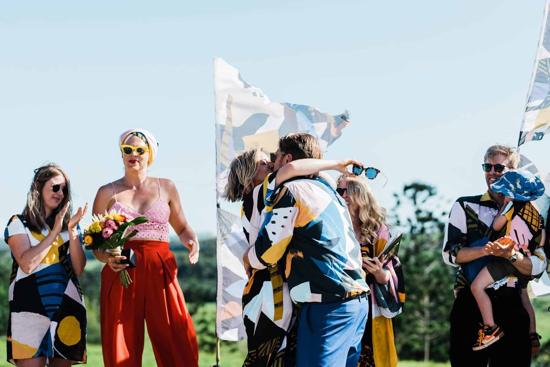colourful festival wedding in a paddock in Newry NSW