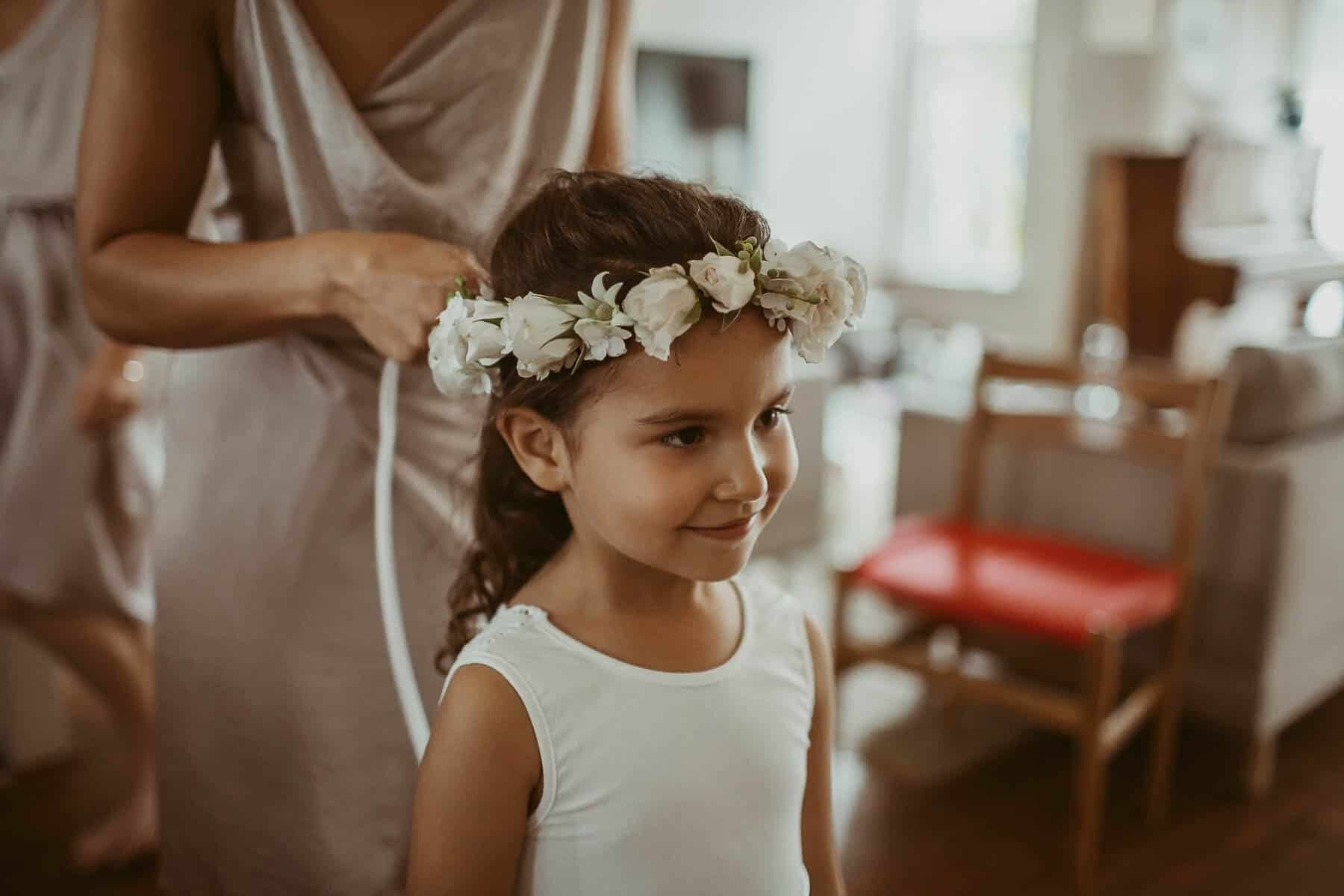 flower girl with white flower crown
