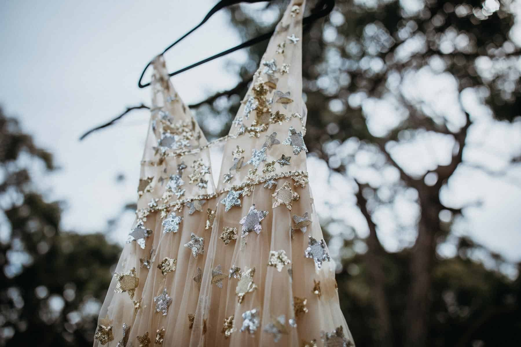 Gold celestial wedding dress by Willowby