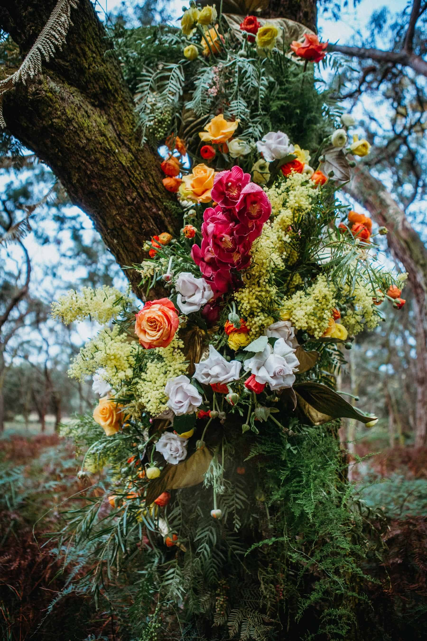 floral installation in a tree