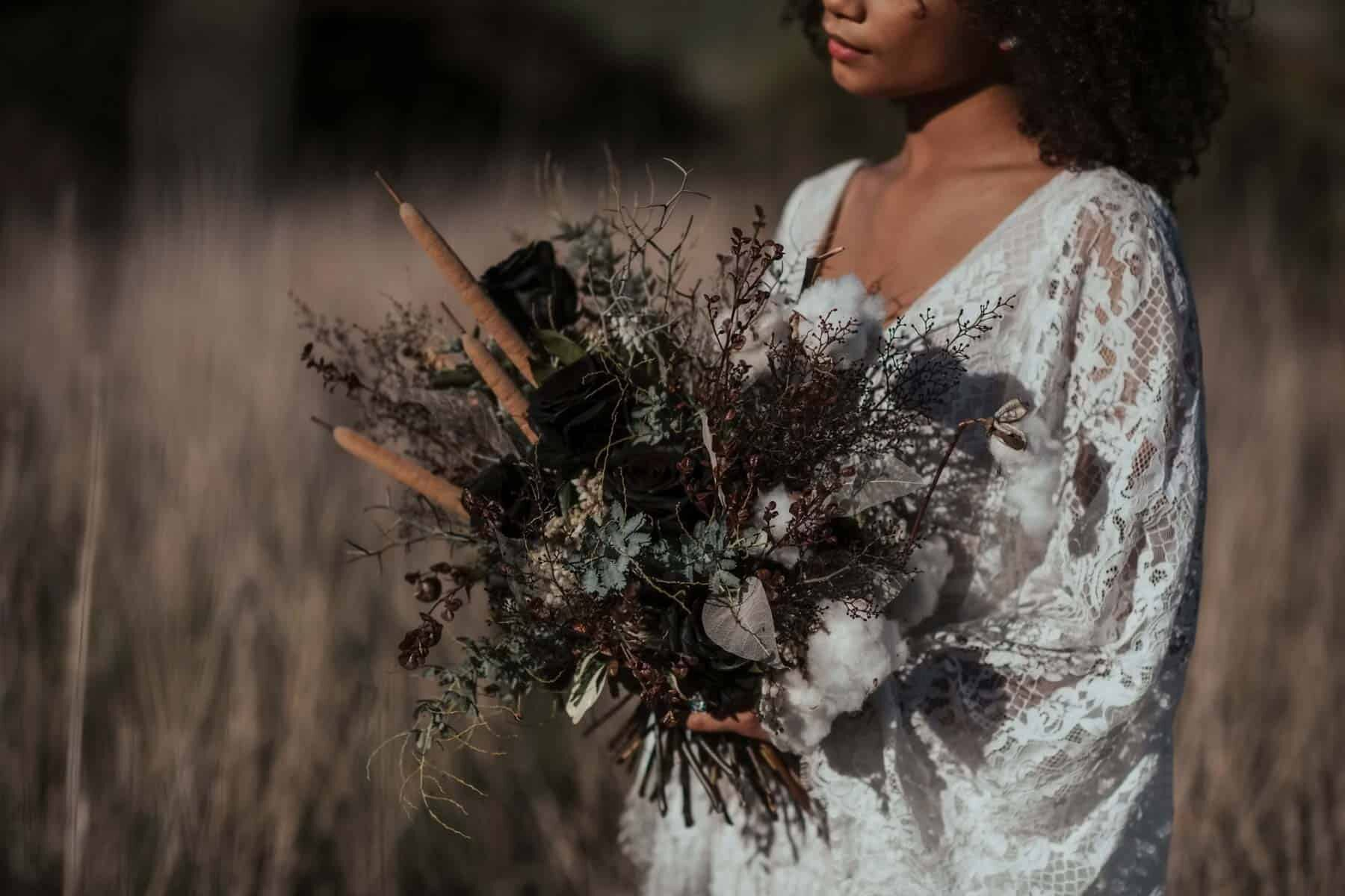 wild bridal bouquet with bullrushes, grasses and coastal flora