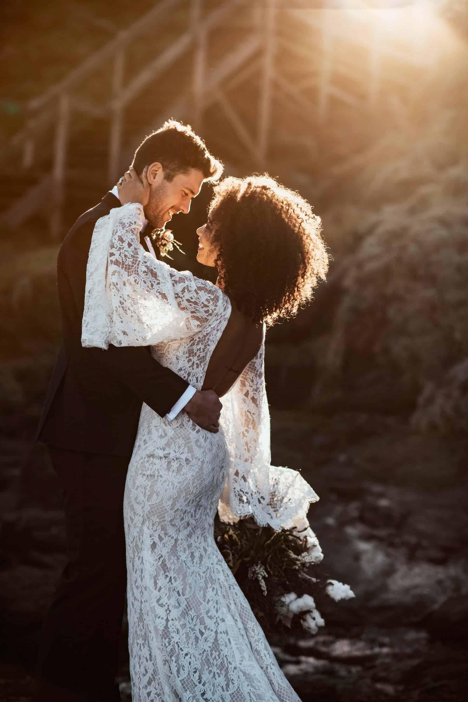boho bride in lace bell sleeve wedding dress