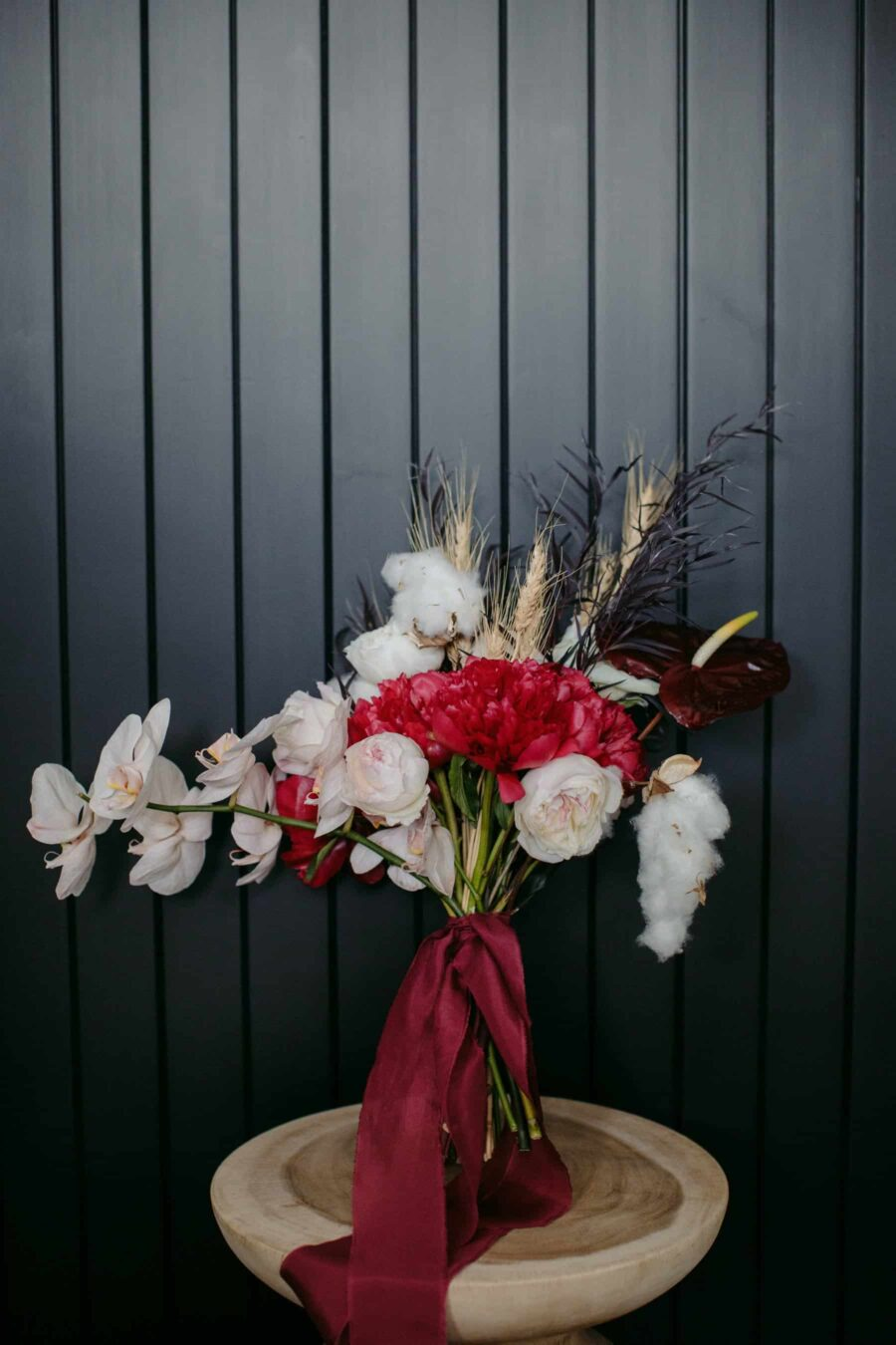 modern red and white bridal bouquet