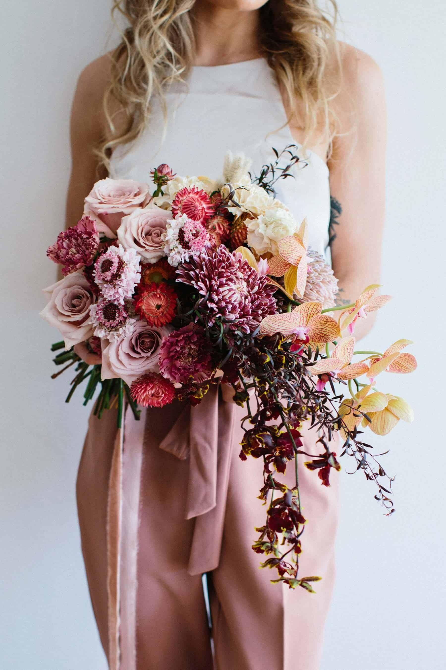 blush, peach and burgundy bridal bouquet