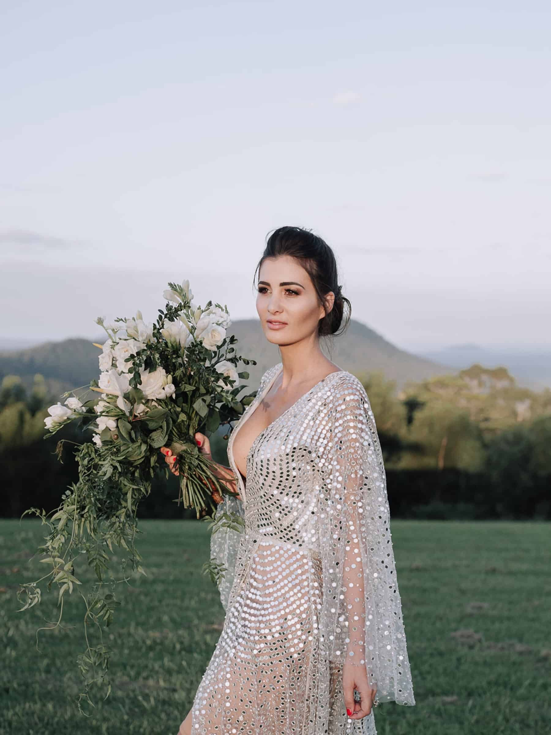 sheer long sleeve sequin wedding gown by One Day Bridal