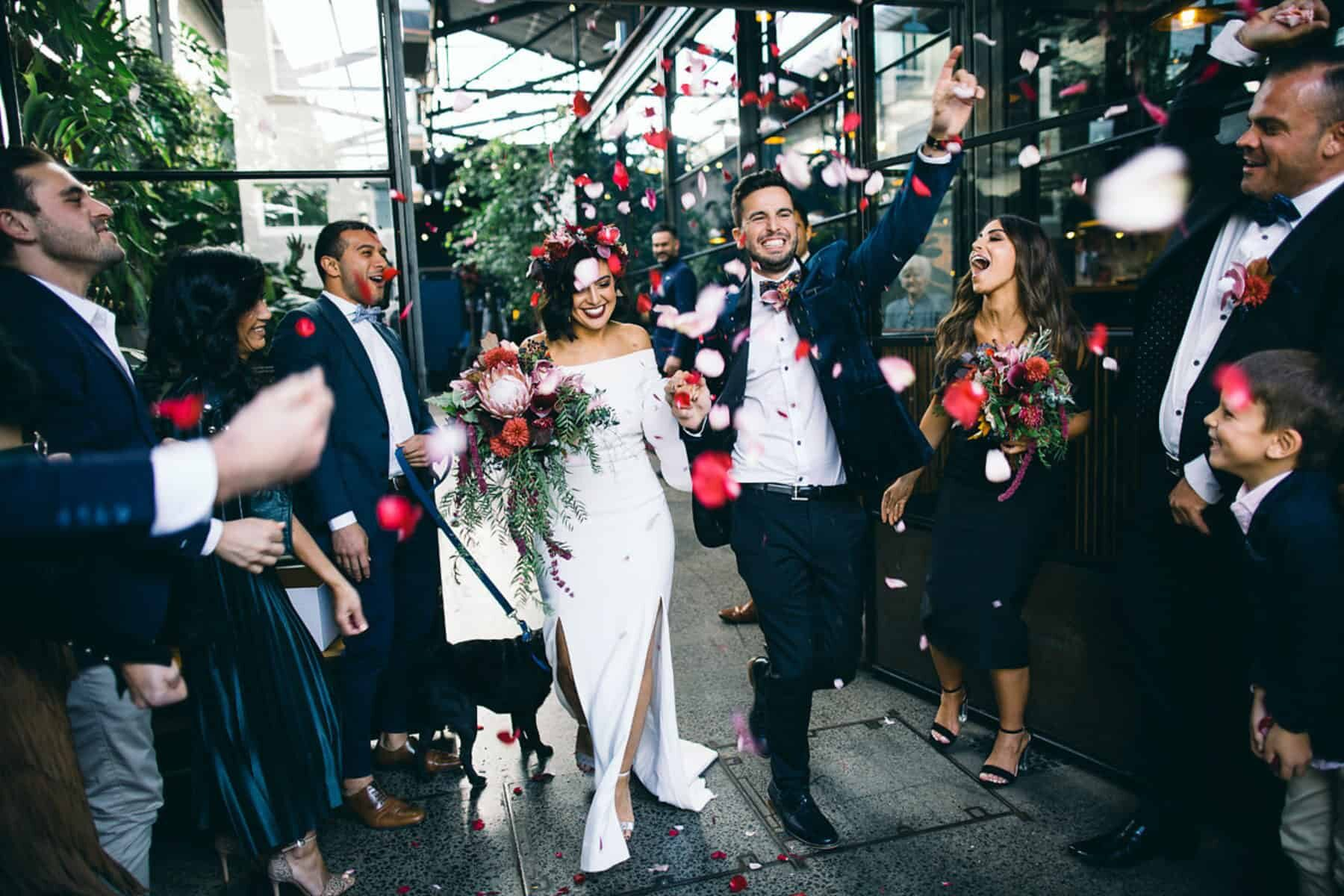 Best of 2018: bouquets. Berry-toned bouquet with king protea and orchids