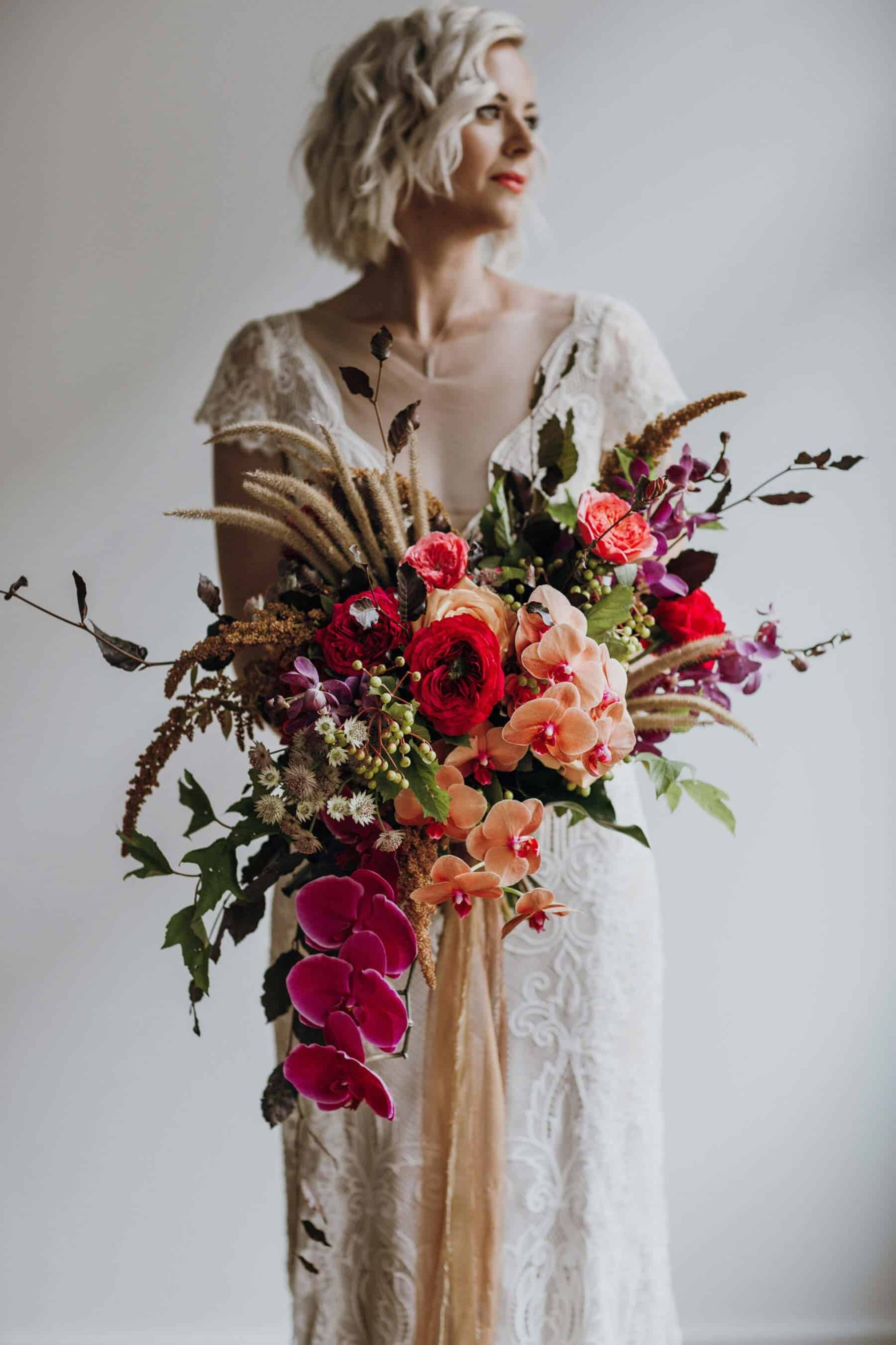 Best of 2018: bouquets. vibrant bridal bouquet with wild grass and orchids