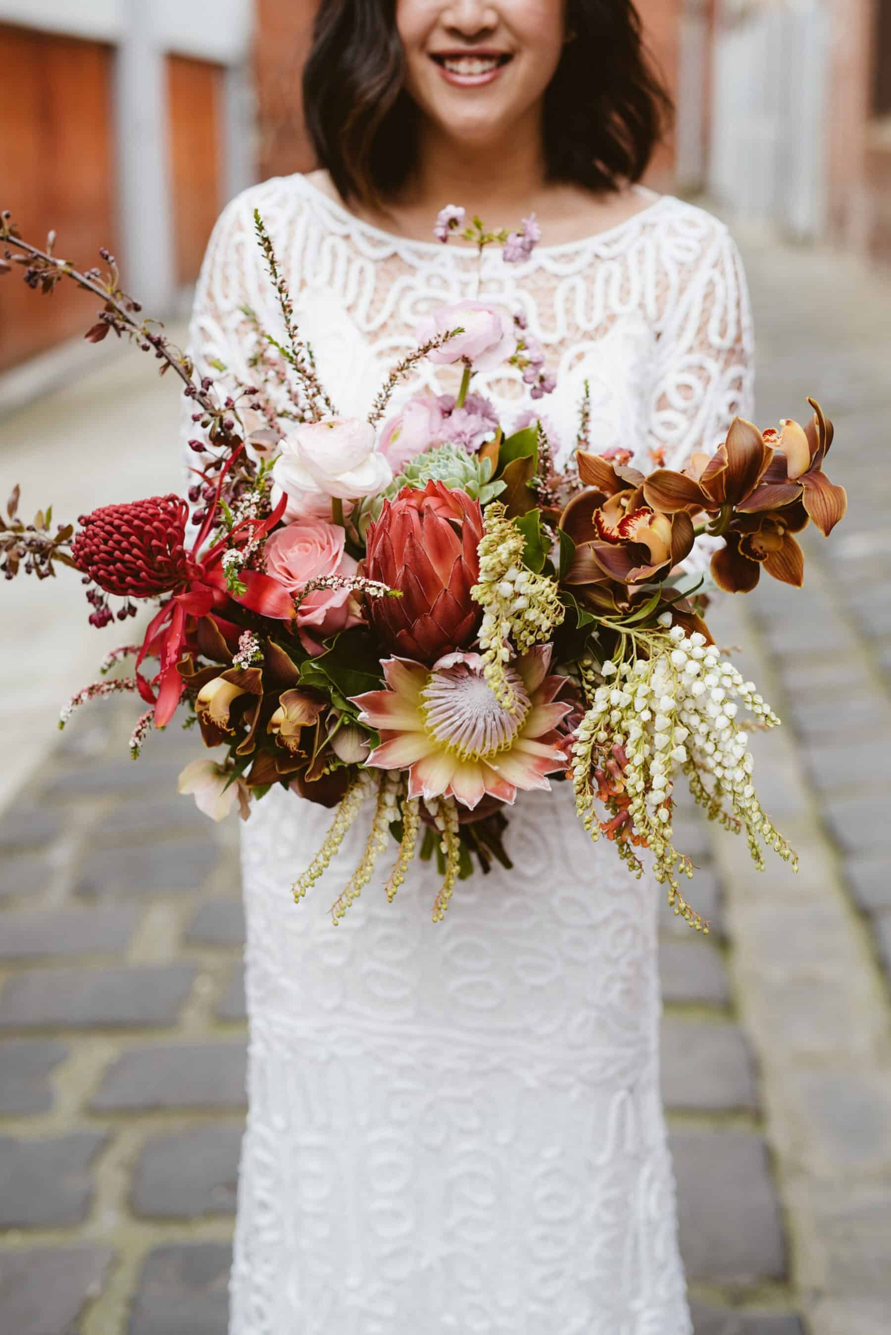 Best of 2018: bouquets. blush and dusty pink bouquet with king protea and native flowers