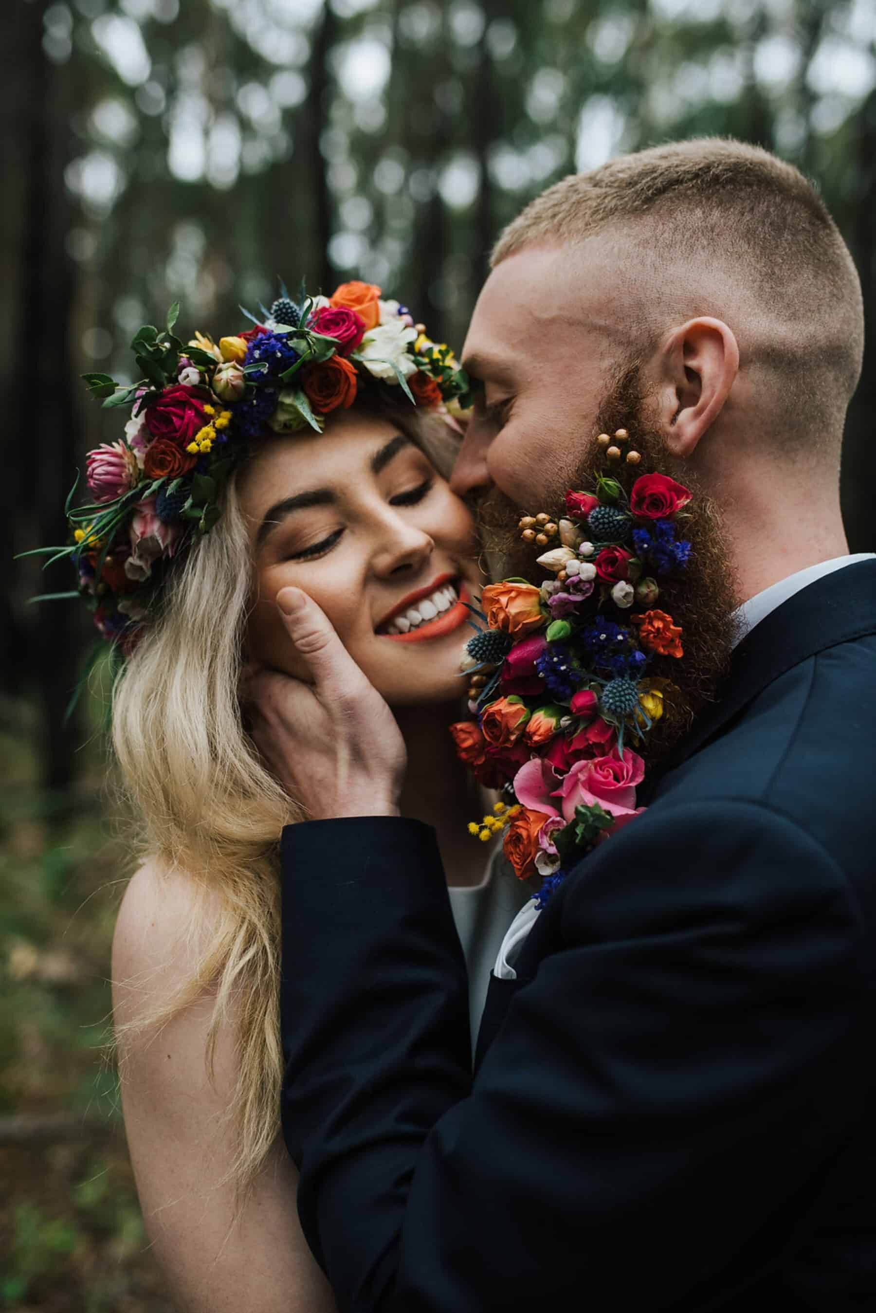 Best of 2018: bouquets. bride with flower crown and groom with floral beard