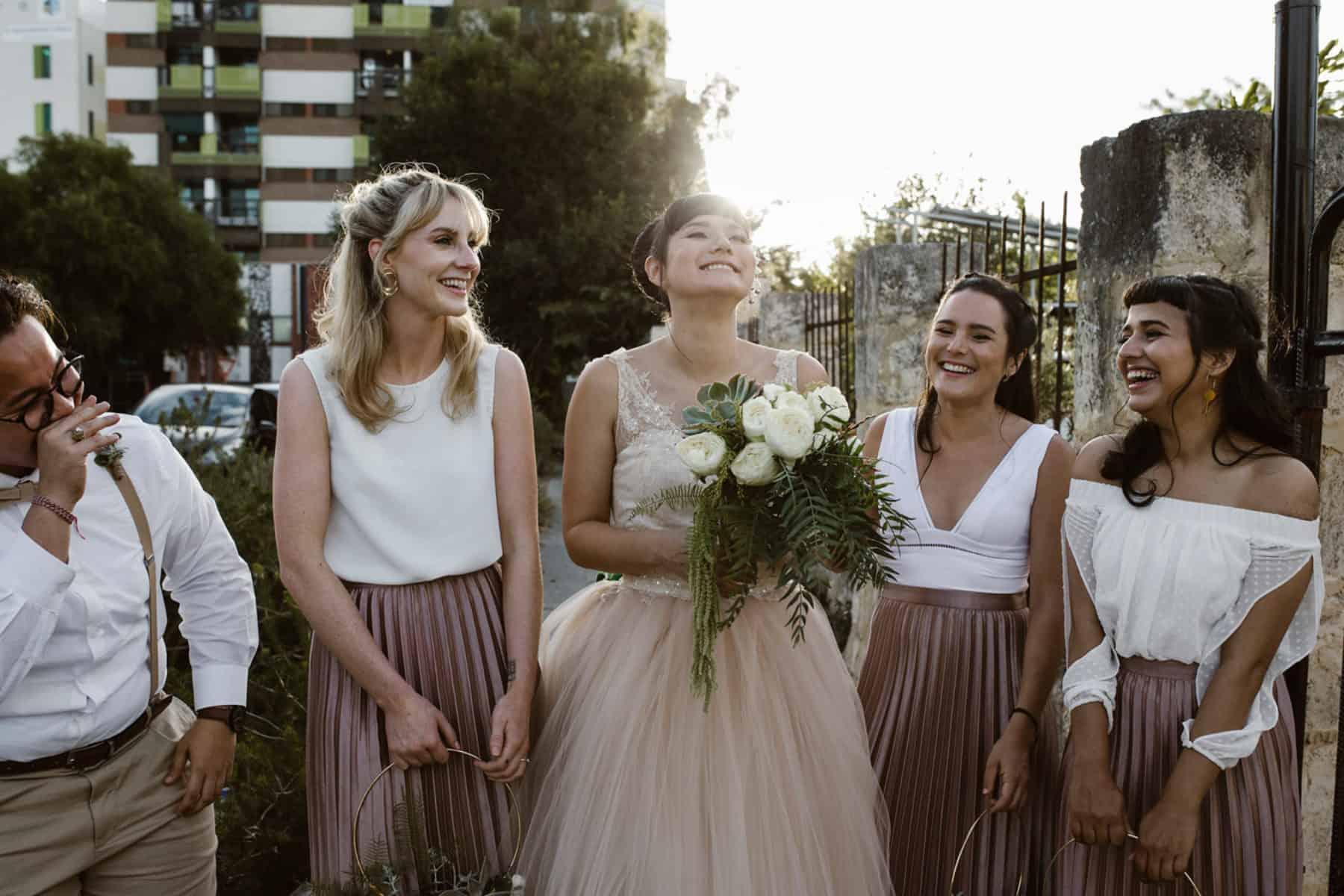 dusty pink bridesmaid separates