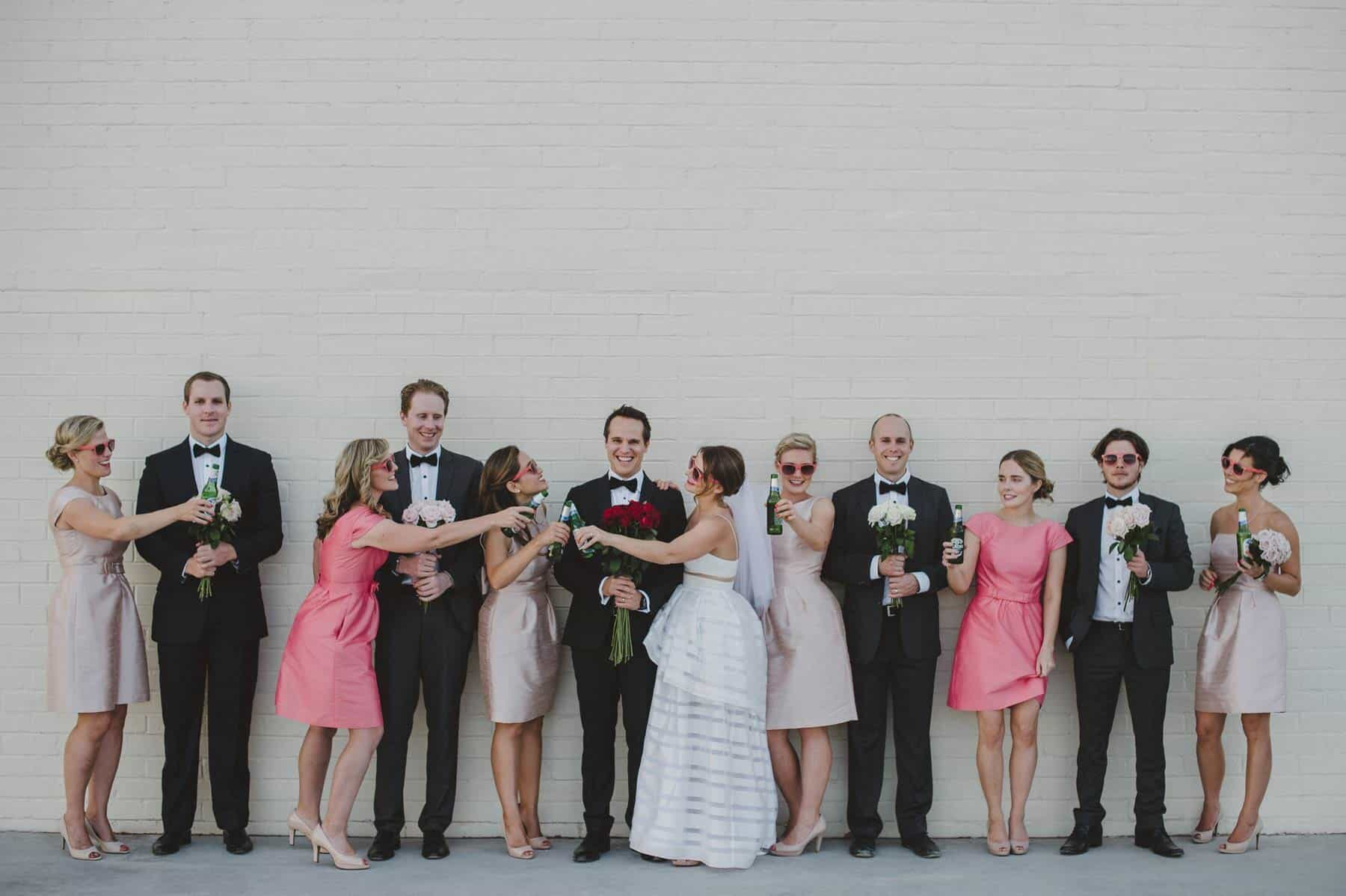 modern bridal party in blush, pink and black
