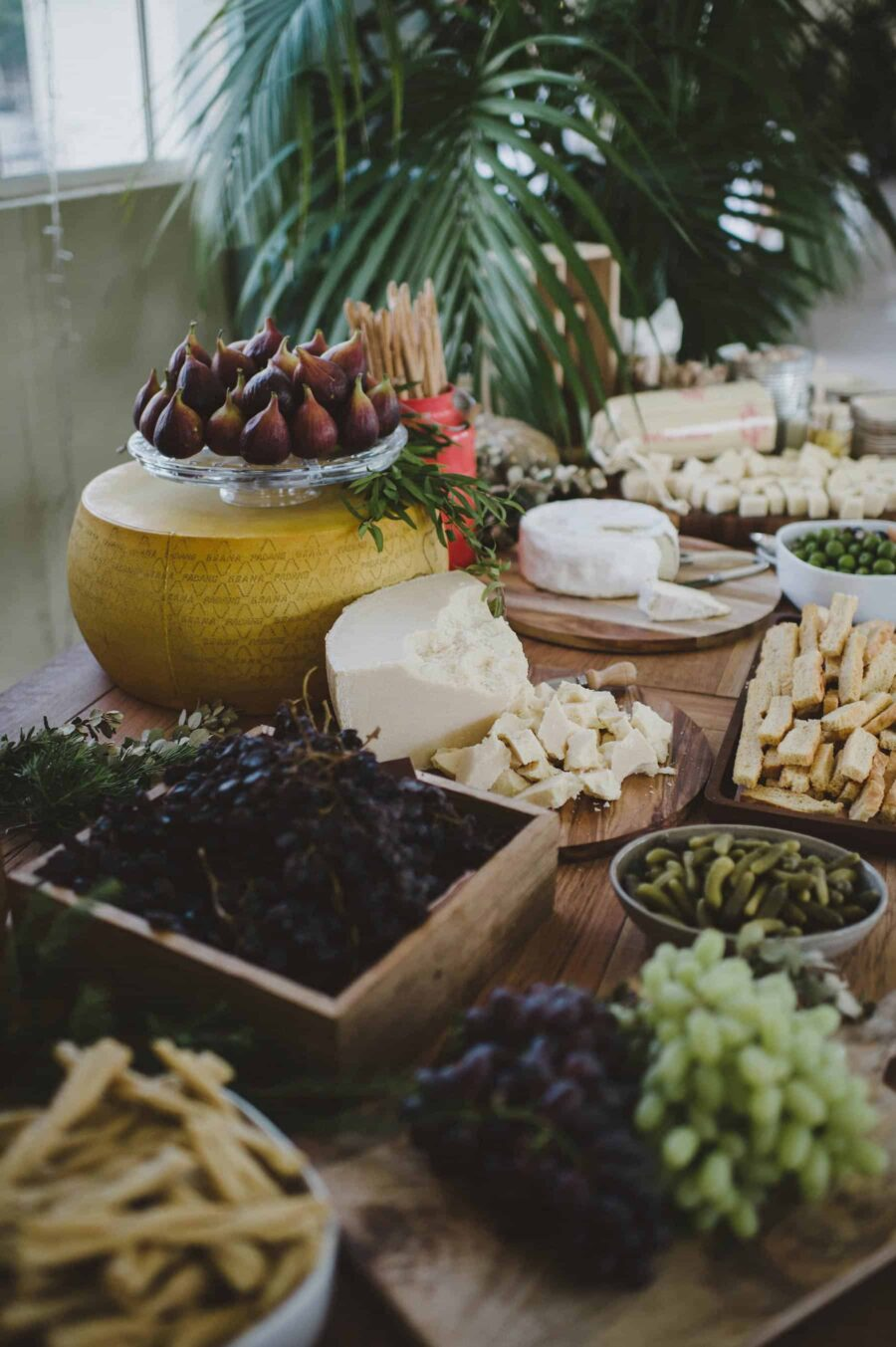 cheese and fruit grazing table