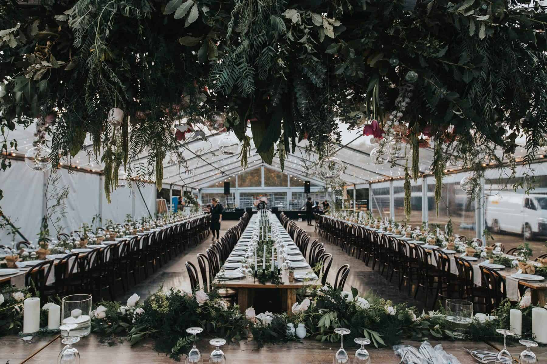 relaxed farm wedding with greenhouse marquee