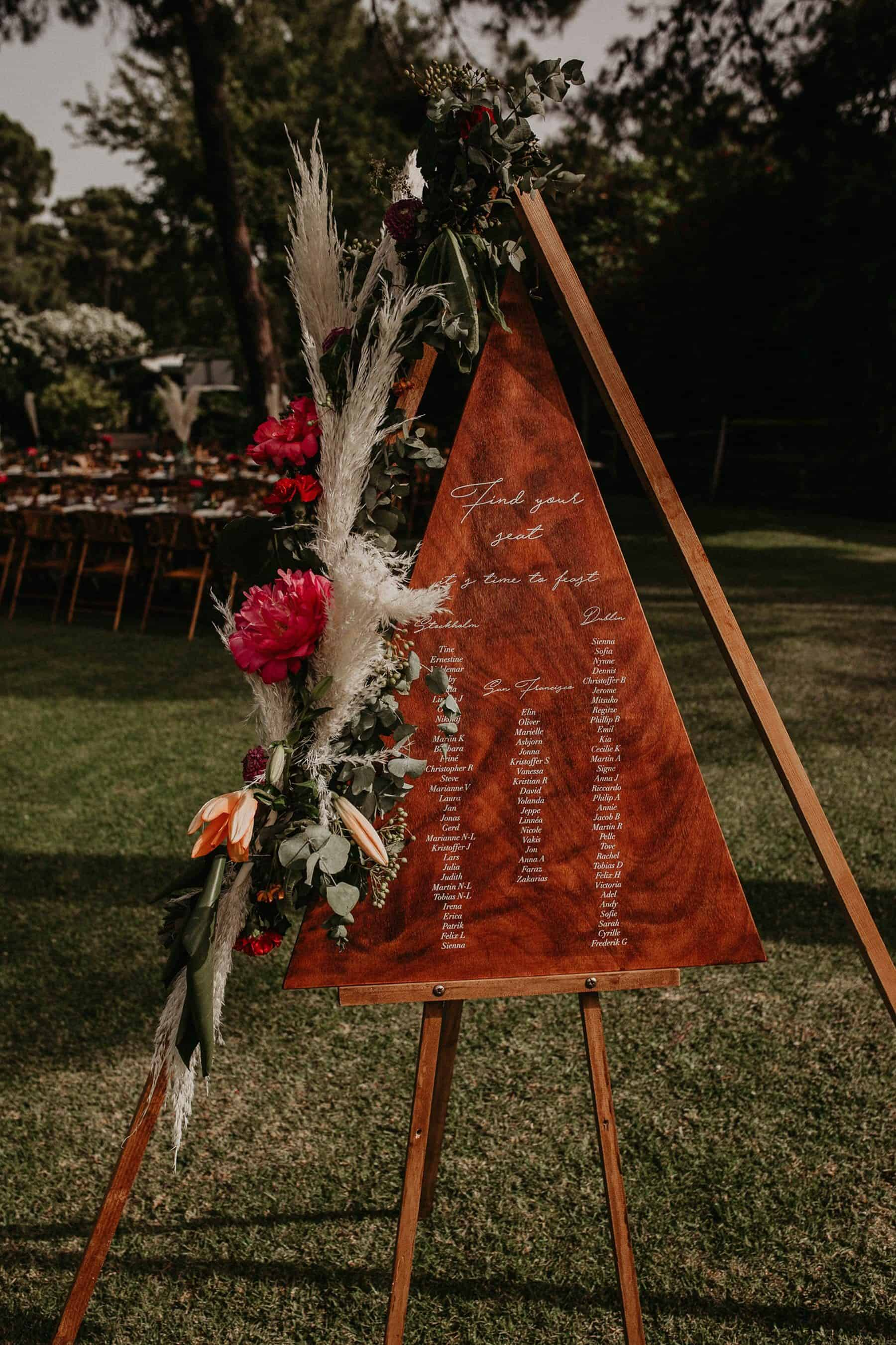 wooden triangle seating planner