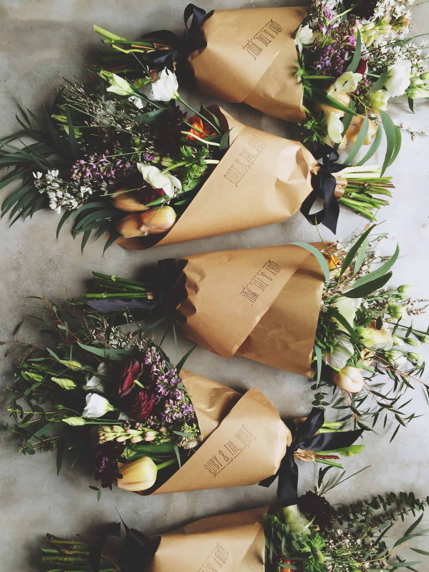 flower posies wrapped in brown paper