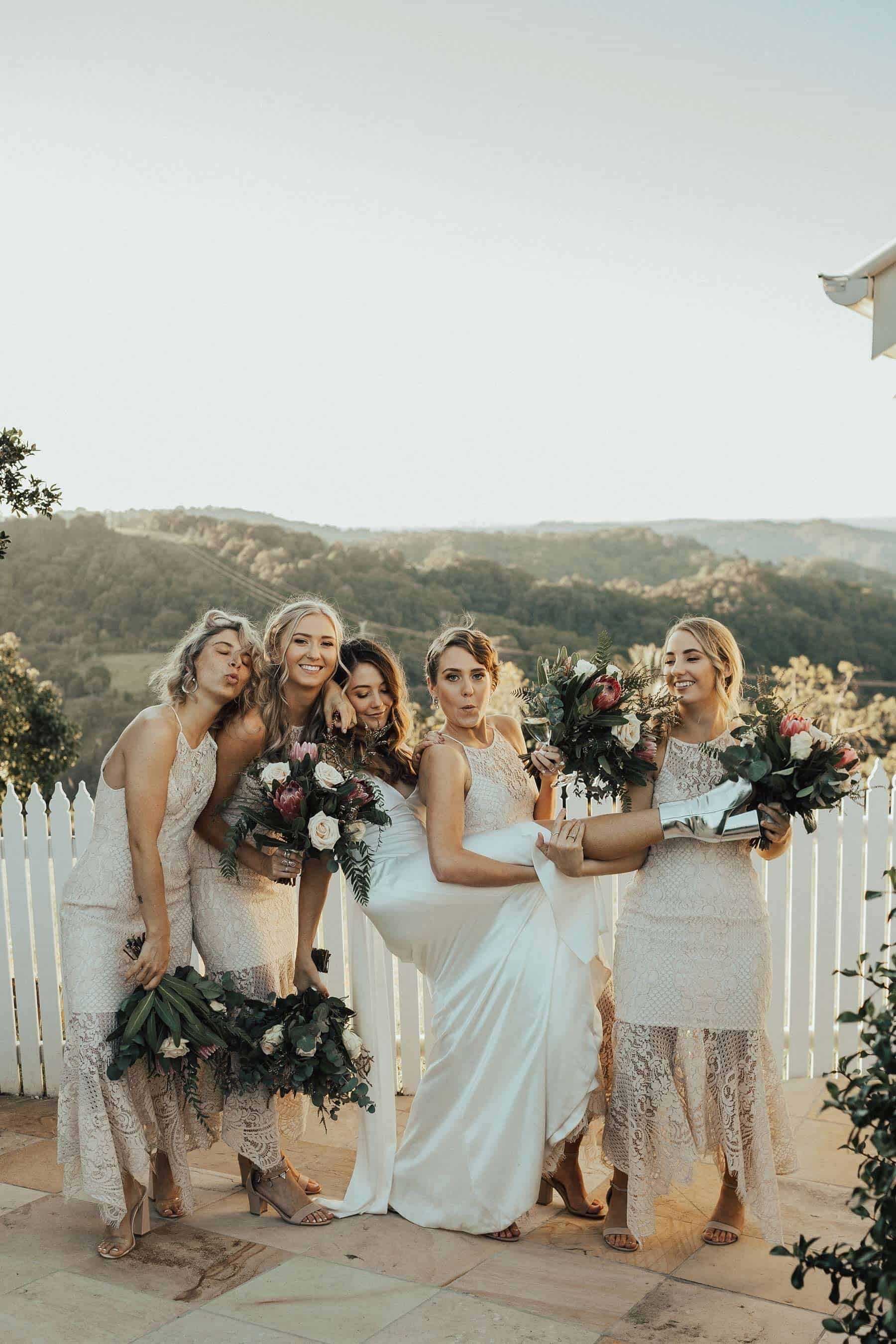 modern bride and lace bridesmaid dresses