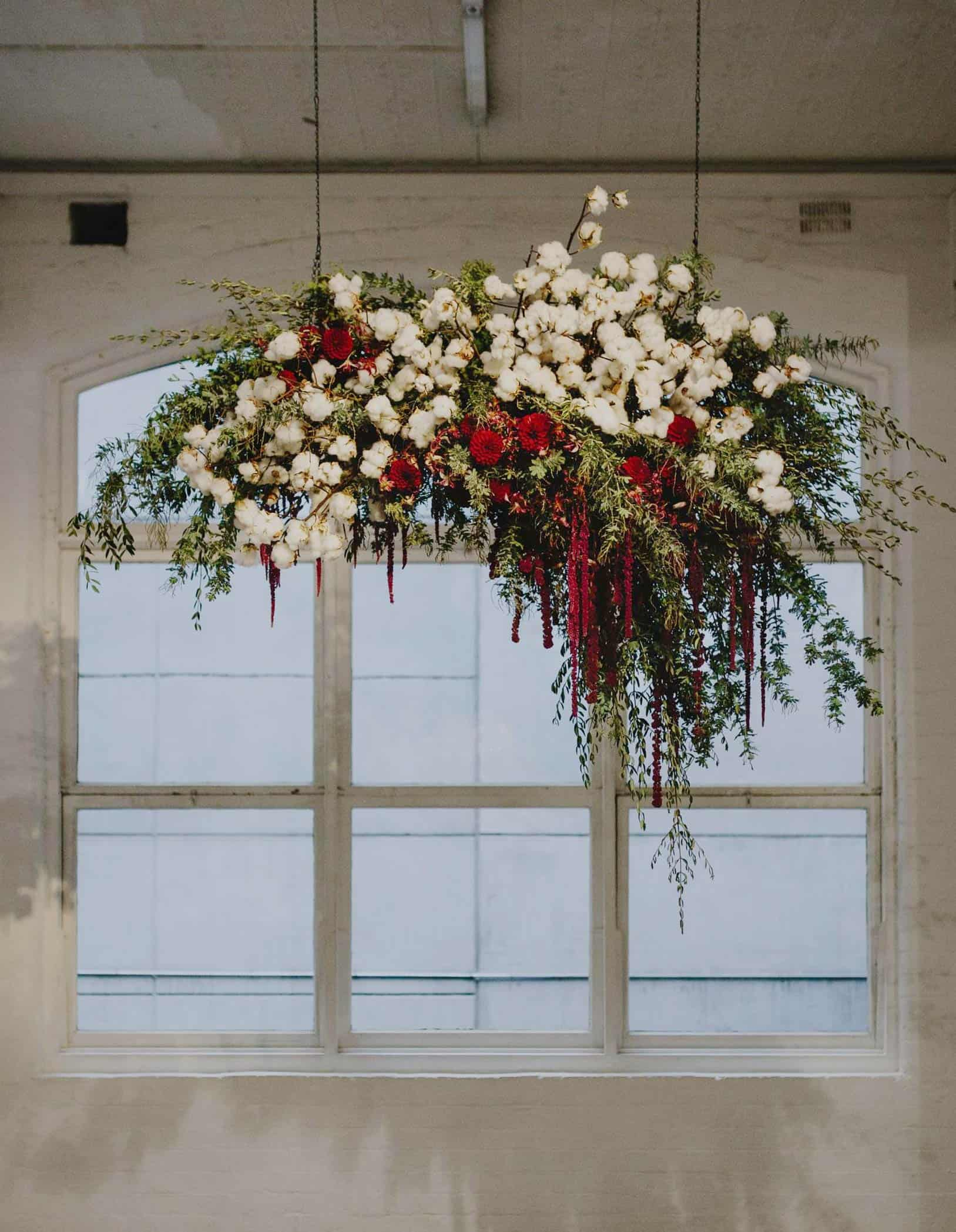 hanging floral installaton with cotton and amaranth