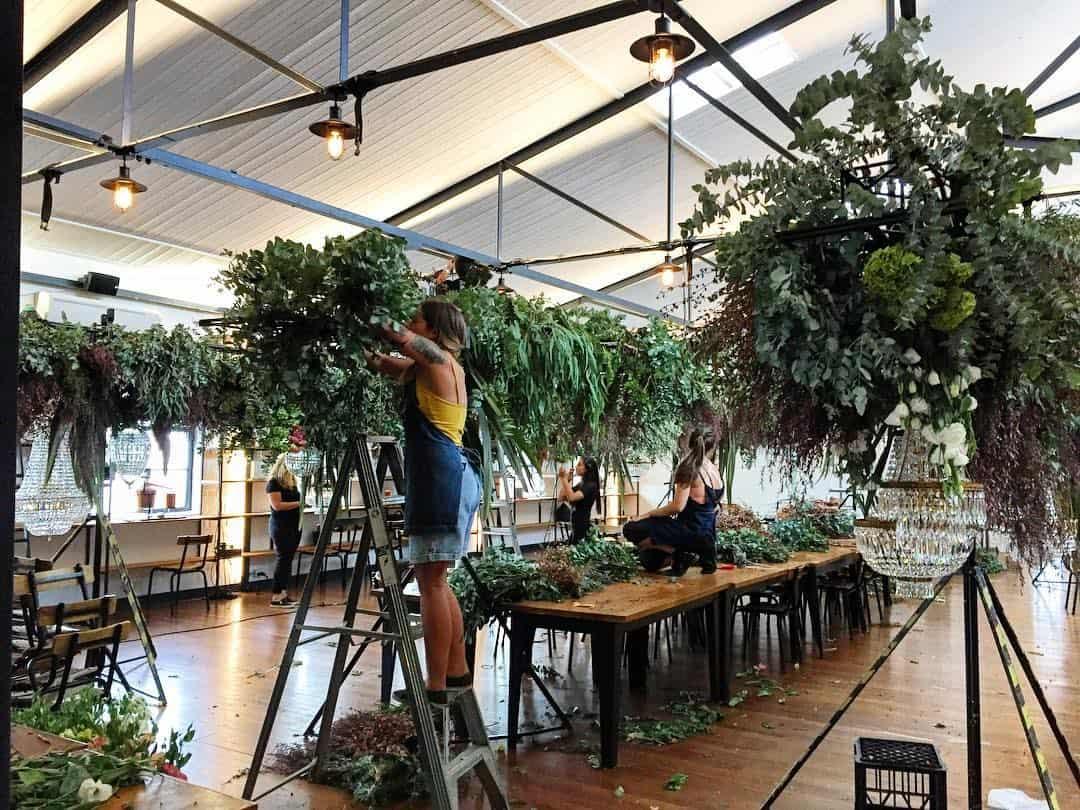 hanging greener floral foliage installation
