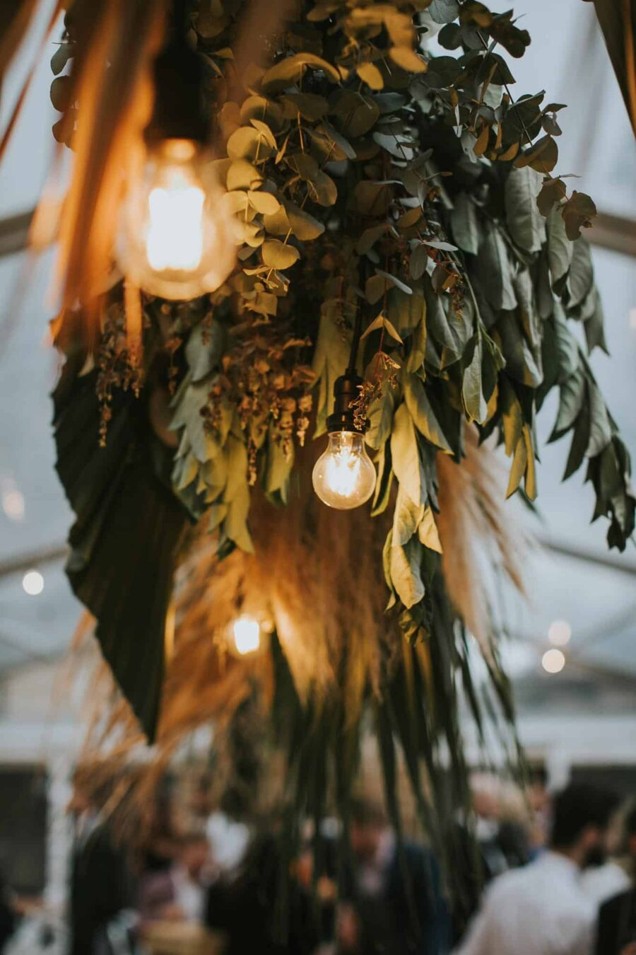 hanging foliage installation with lights