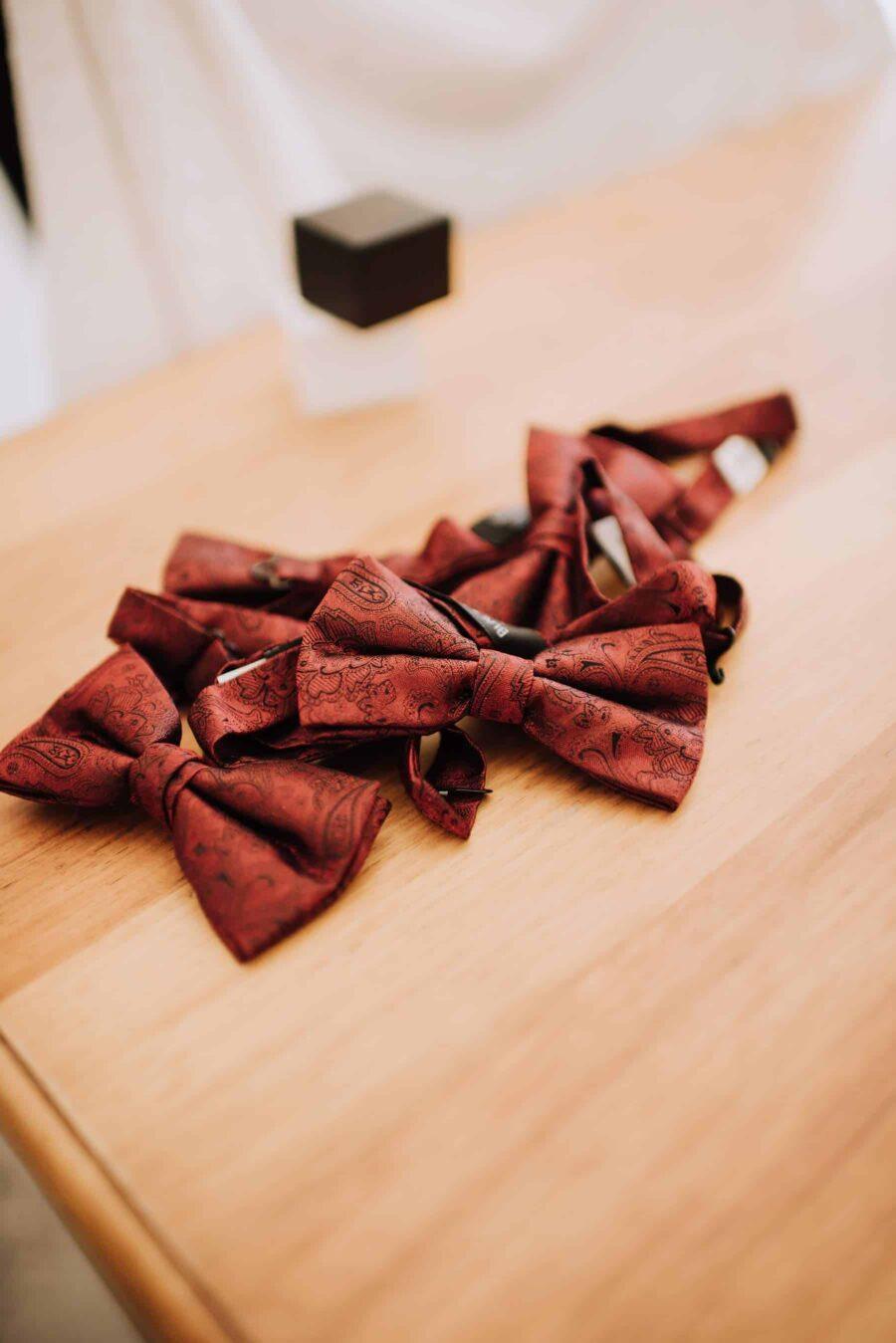 burgundy bow ties