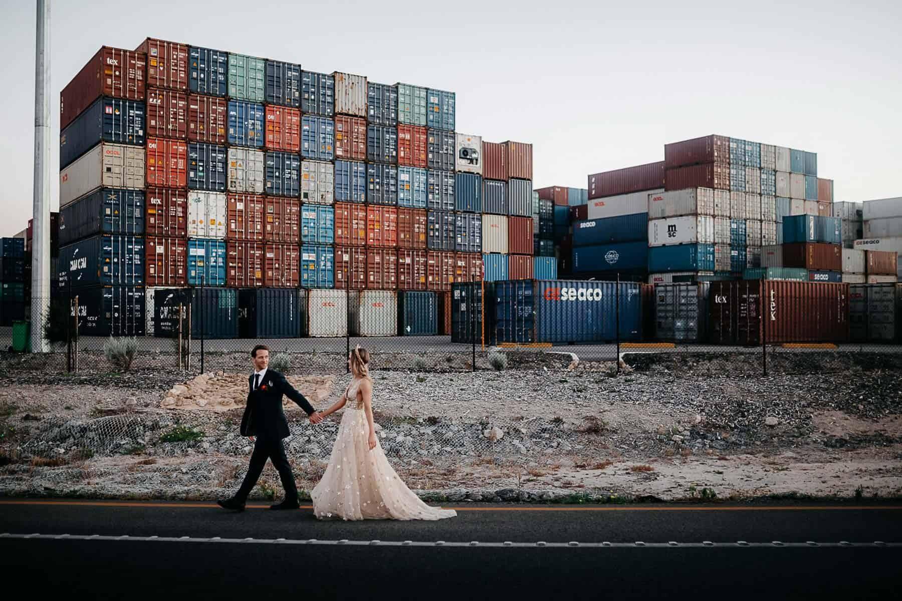 wedding photoshoot at Fremantle docksshot by Adam Levi Browne Photography