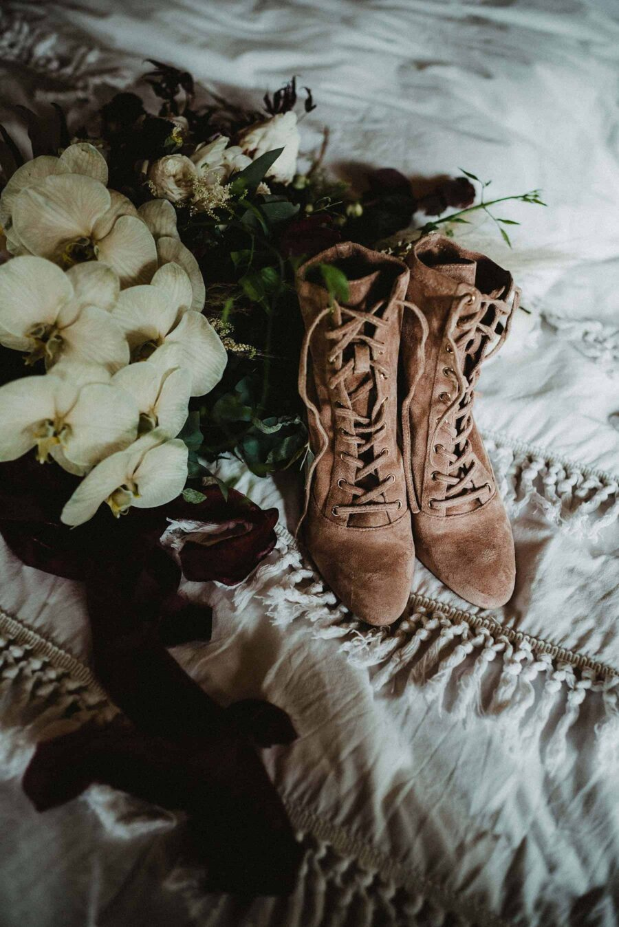 Quirky wedding boots for forest wedding